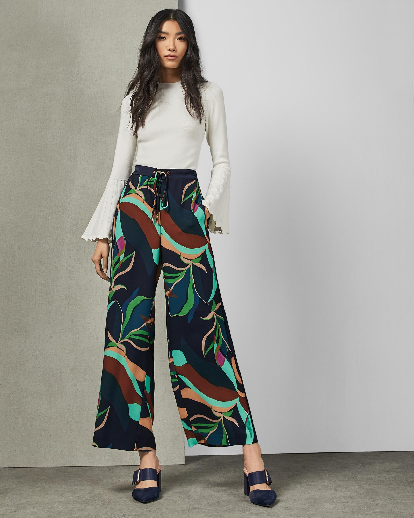b7e4da7a1 Ted Baker Supernatural Print Wide Leg Trousers in Blue - Lyst