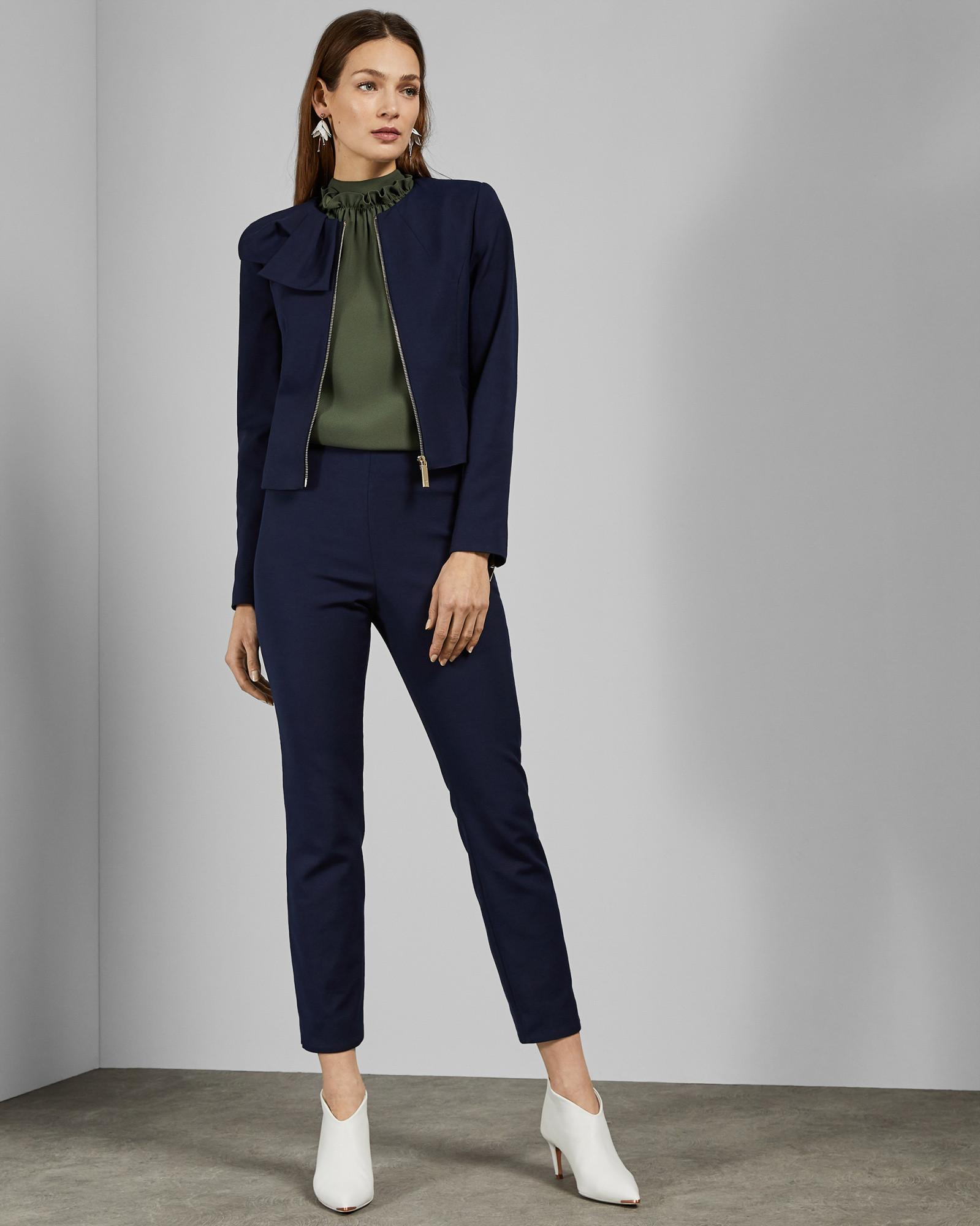 b5b124241 Lyst - Ted Baker Cropped Jacket With Bow Detail in Blue