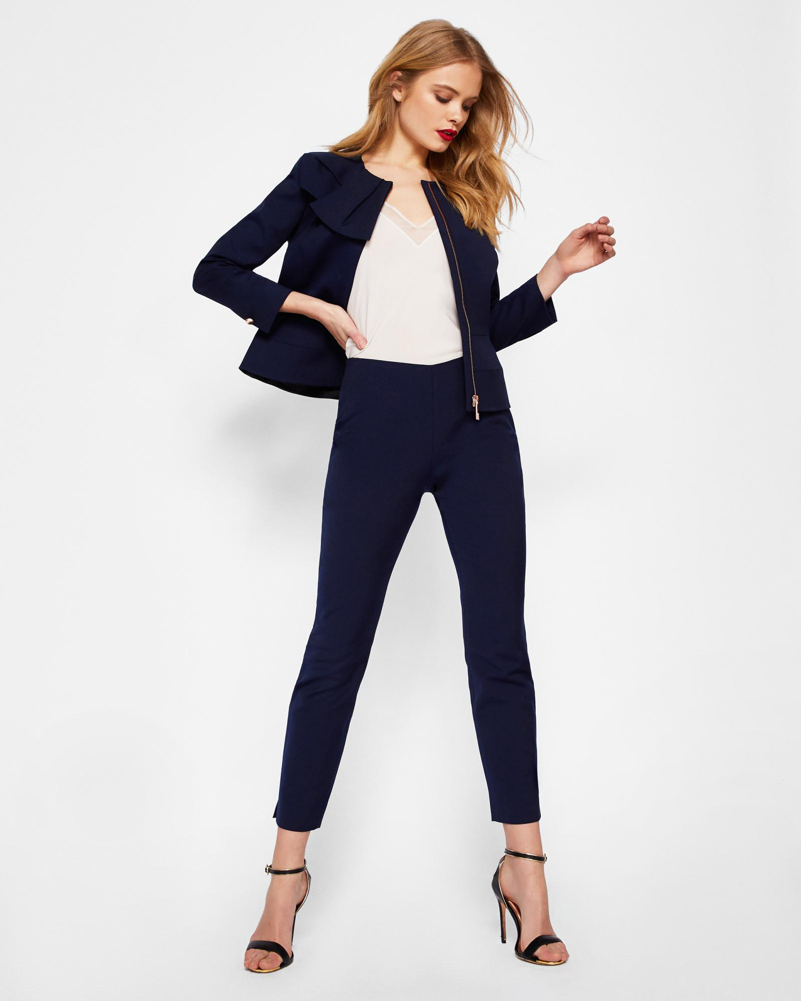 5951691b6 Lyst - Ted Baker Bow Neck Peplum Jacket in Blue