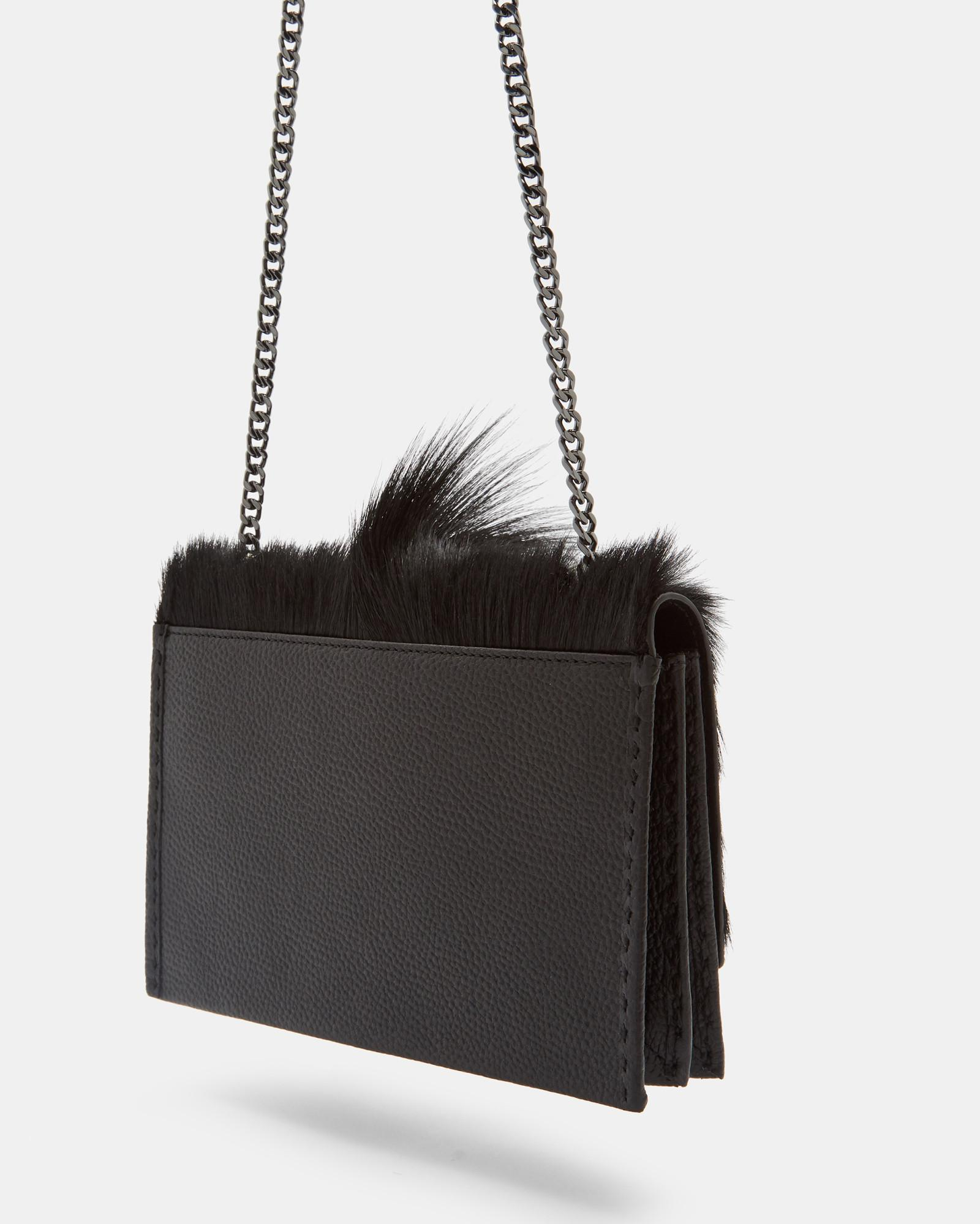 bd25d3cea Ted Baker Springbok Leather Concertina Cross Body Bag in Black - Lyst