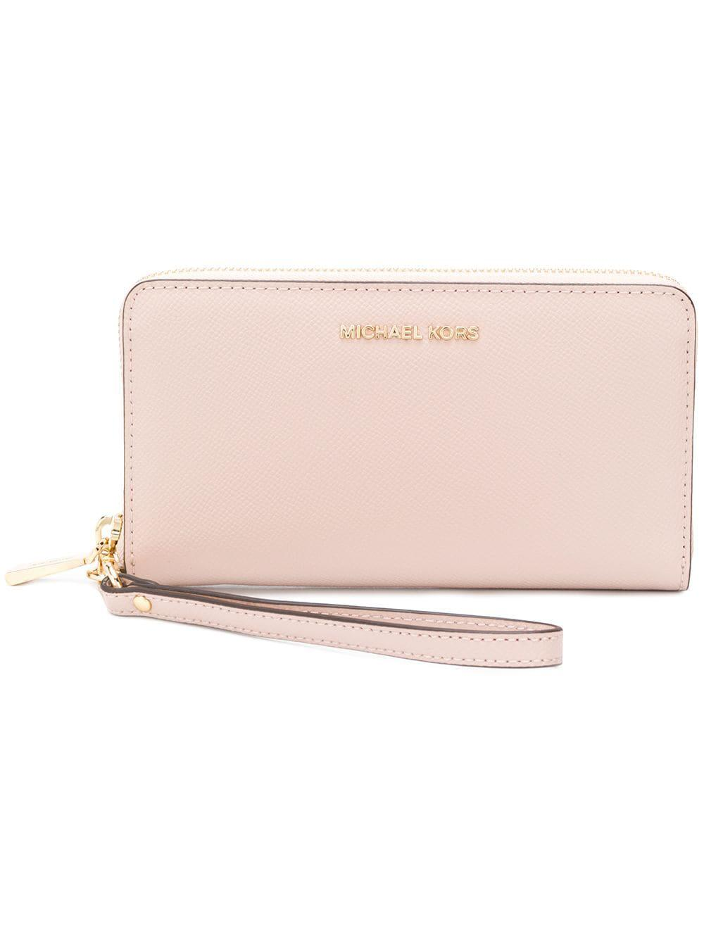 c776fe00e321 Michael Michael Kors Leather Wristlet Pouch in Pink - Lyst