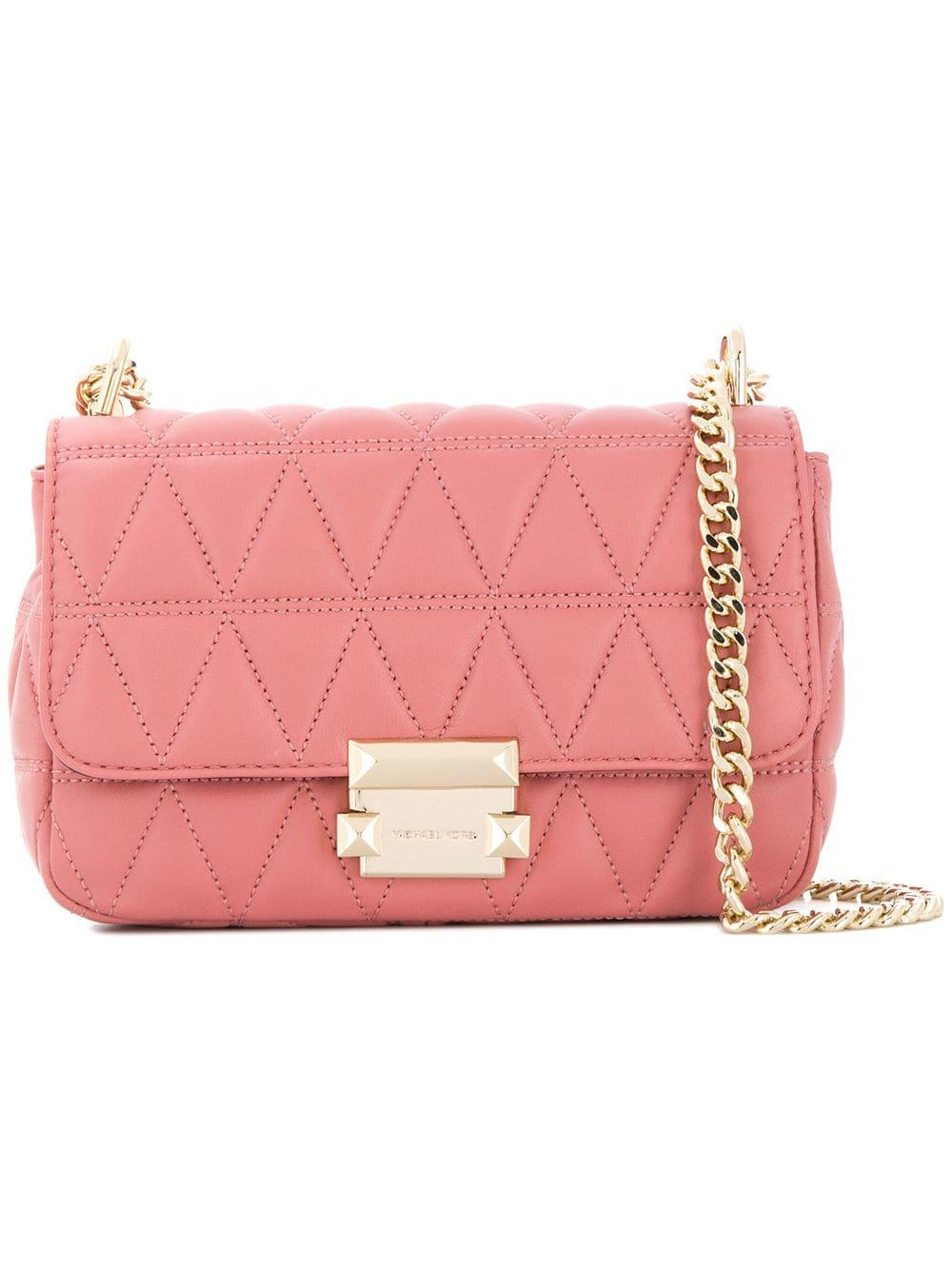 13f86e65fd07b5 Michael Michael Kors Sloan Leather Shoulder Bag in Pink - Lyst
