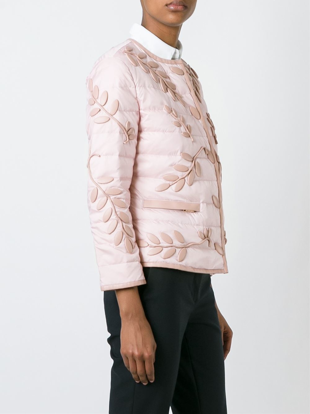 Emporio Armani Embroidered Down Jacket In Natural   Lyst