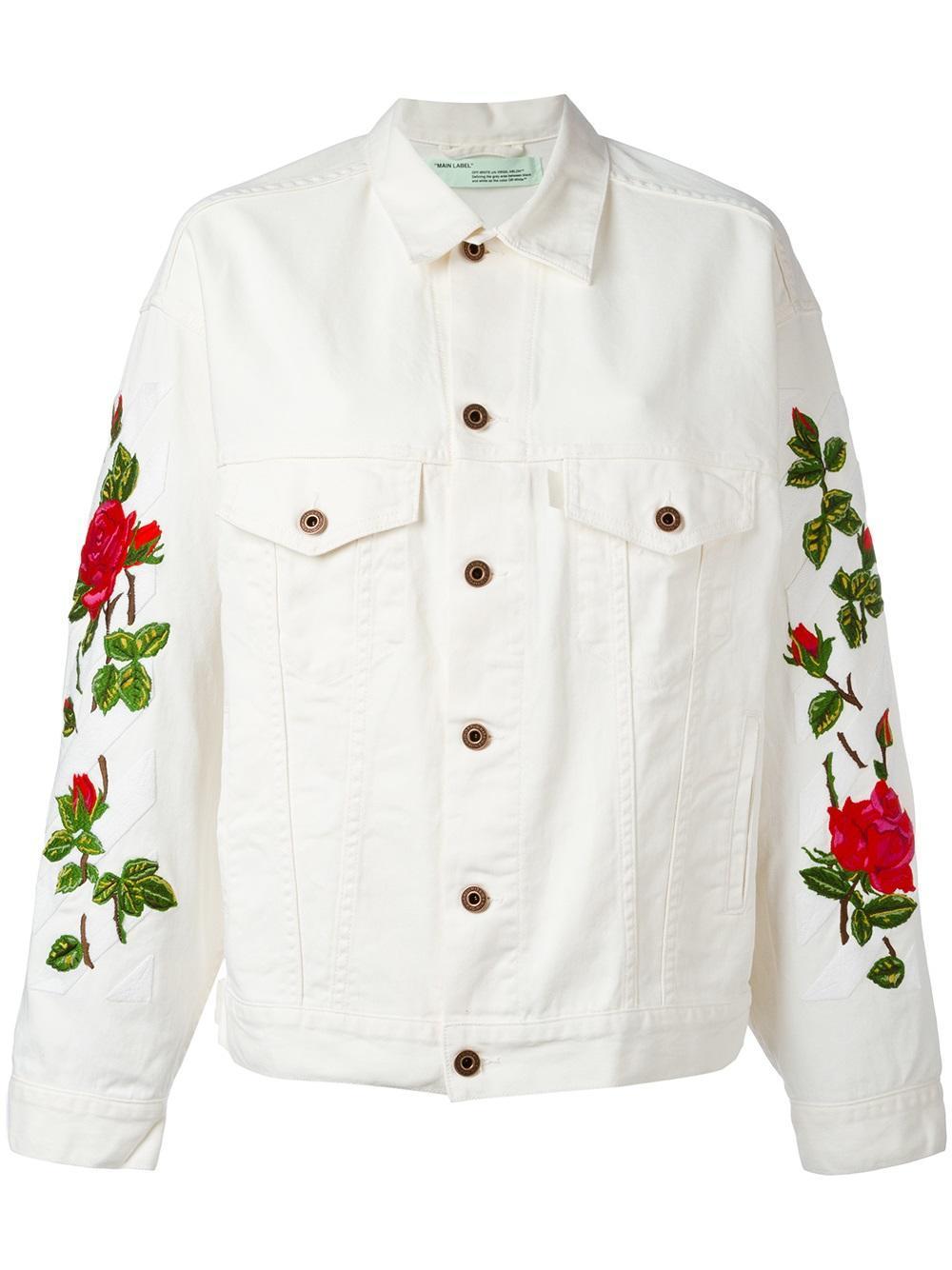 Off White C O Virgil Abloh Diag Roses Over Jacket Lyst