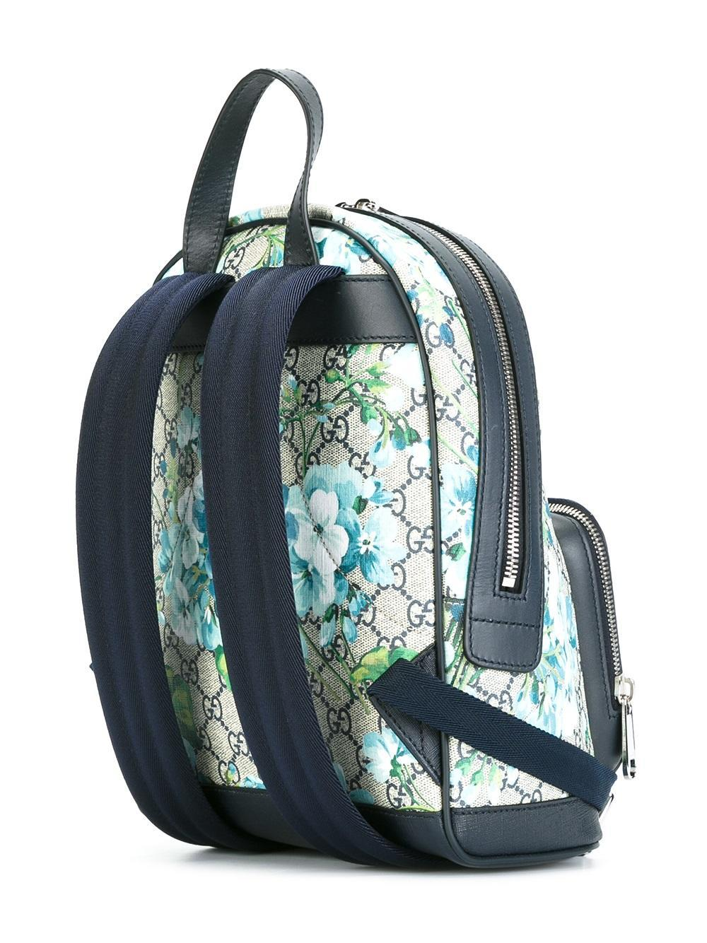 Lyst Gucci Gg Blooms Supreme Small Backpack In Blue