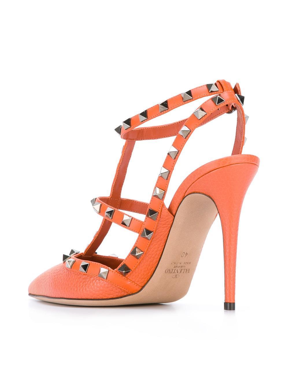 lyst valentino garavani rockstud pumps in orange. Black Bedroom Furniture Sets. Home Design Ideas