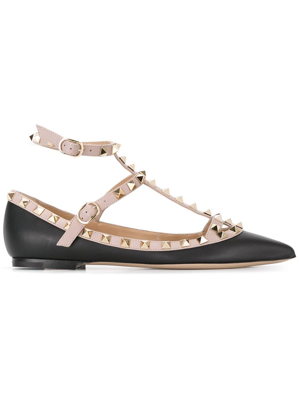 valentino rockstud leather ballet flat lyst. Black Bedroom Furniture Sets. Home Design Ideas