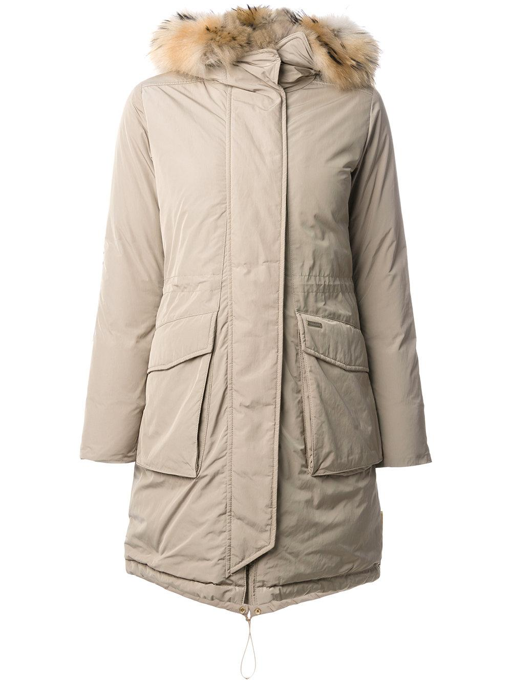 woolrich military parka with fur in natural save 15 lyst. Black Bedroom Furniture Sets. Home Design Ideas