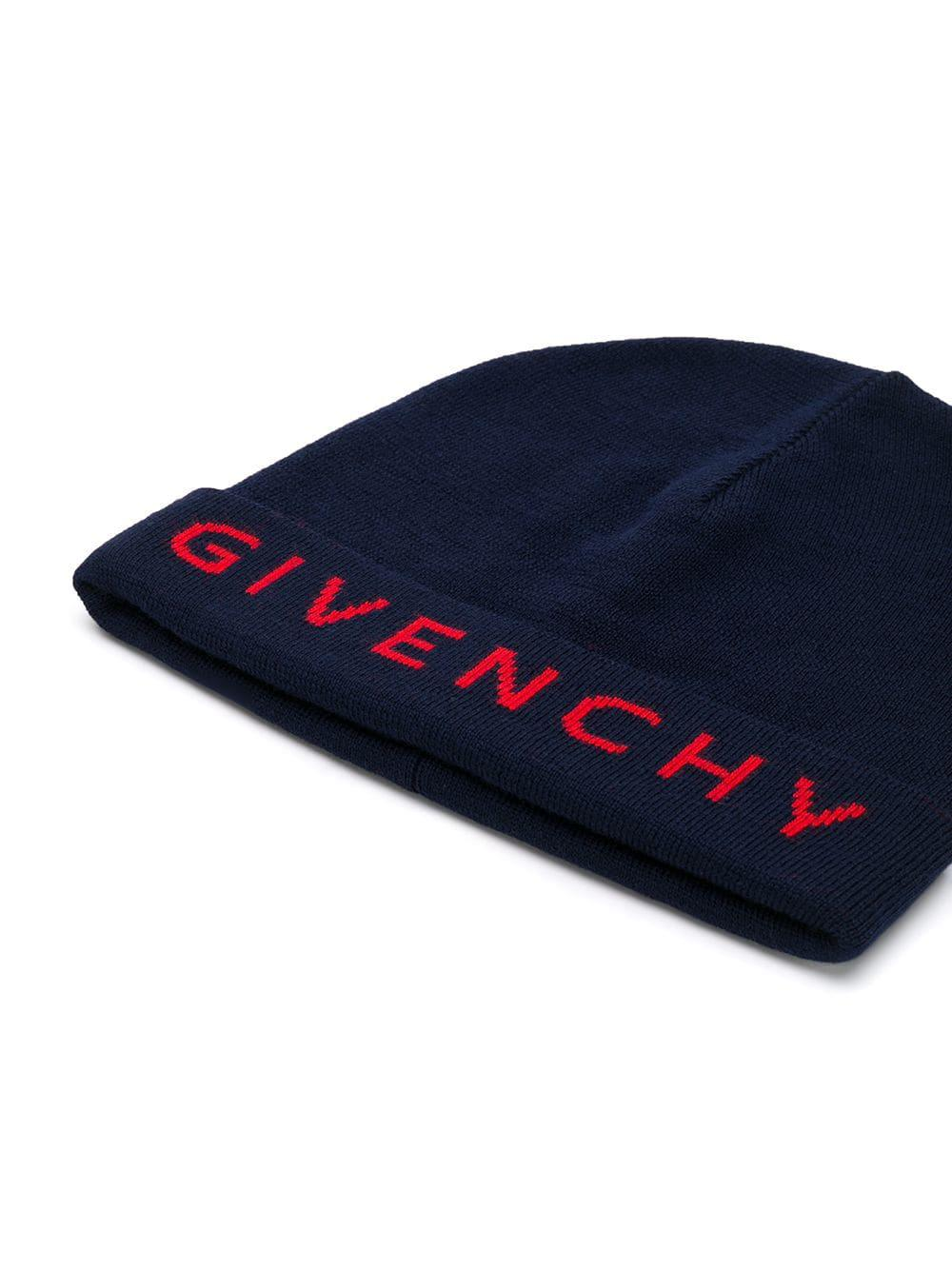 c811c547755 Lyst - Givenchy Wool Logo Beanie in Blue - Save 19.272727272727266%