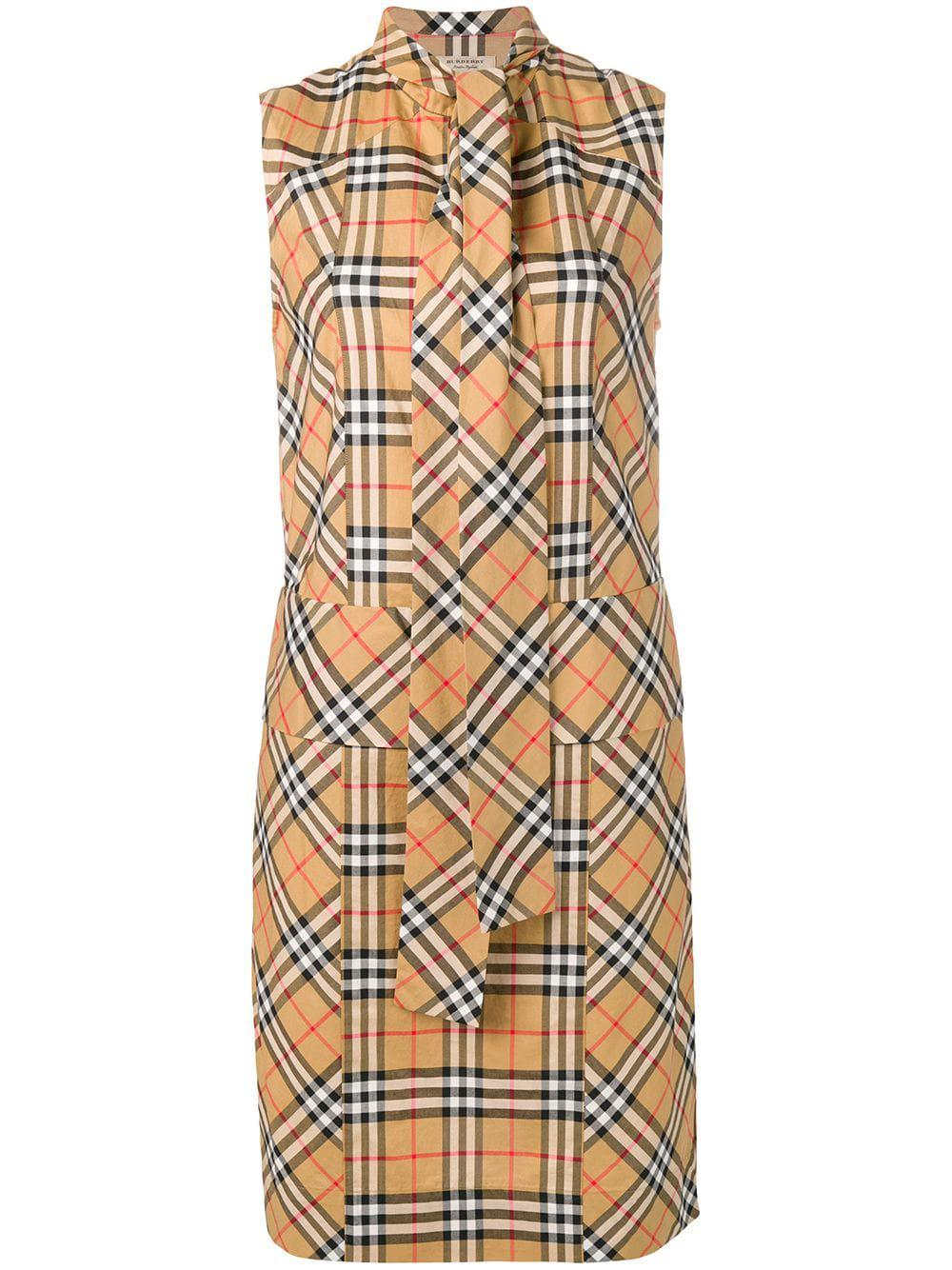 847ea46bb9392d Lyst - Burberry Checked Dress in Natural