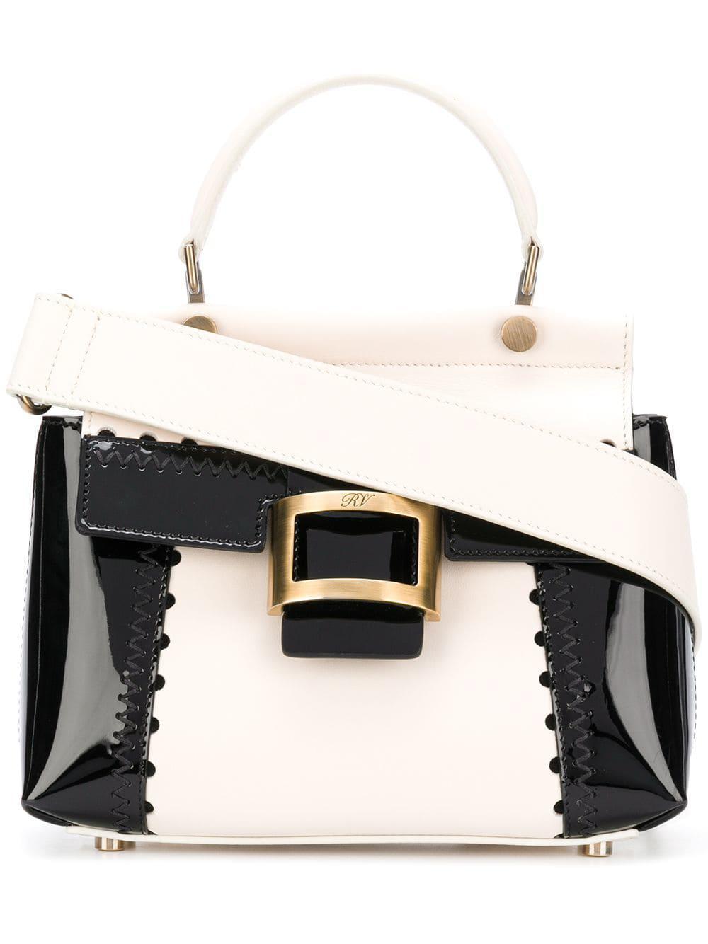 55515d420a Lyst - Roger Vivier Viv Cabas Mini Patent Leather Shoulder Bag in Black