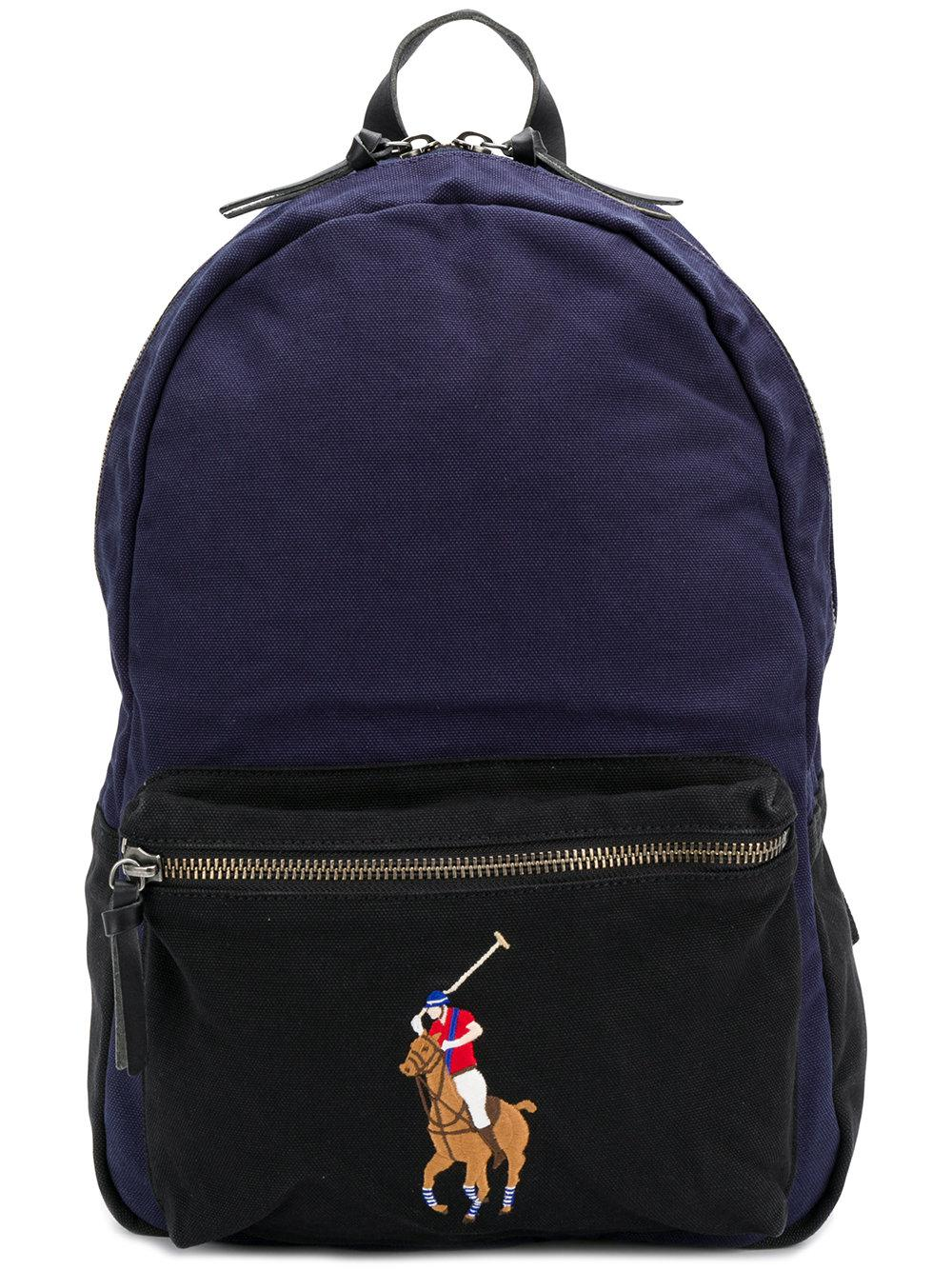 Lyst - Polo Ralph Lauren Logo Printed Backpack in Black for Men 2d630480c6
