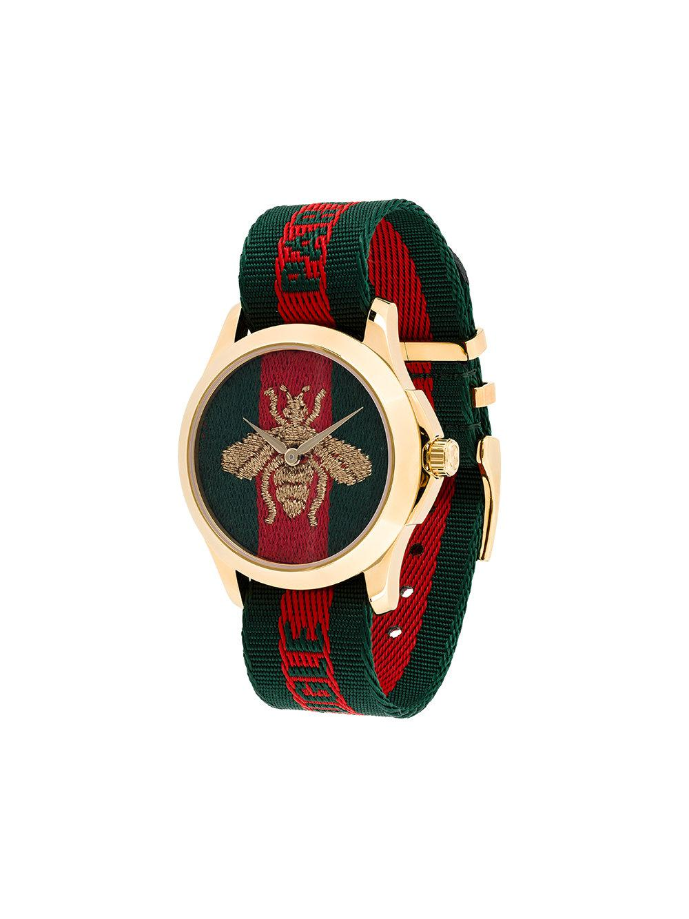 30e9f2296d5 Lyst - Gucci Watch With Bee Clock Face in Green