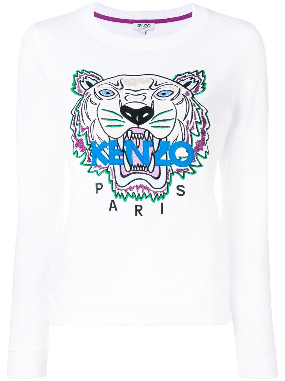 446e2054 KENZO - White Tiger Cotton Sweatshirt - Lyst. View fullscreen