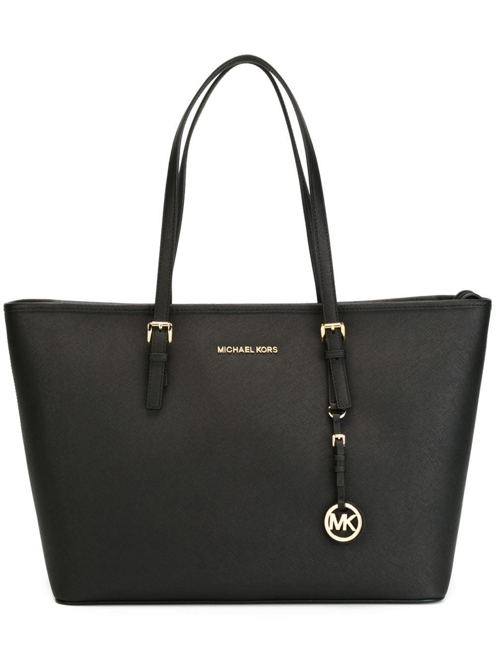 b196c378a18 MICHAEL Michael Kors. Women s Black Jet Set Travel Saffiano Tote Bag