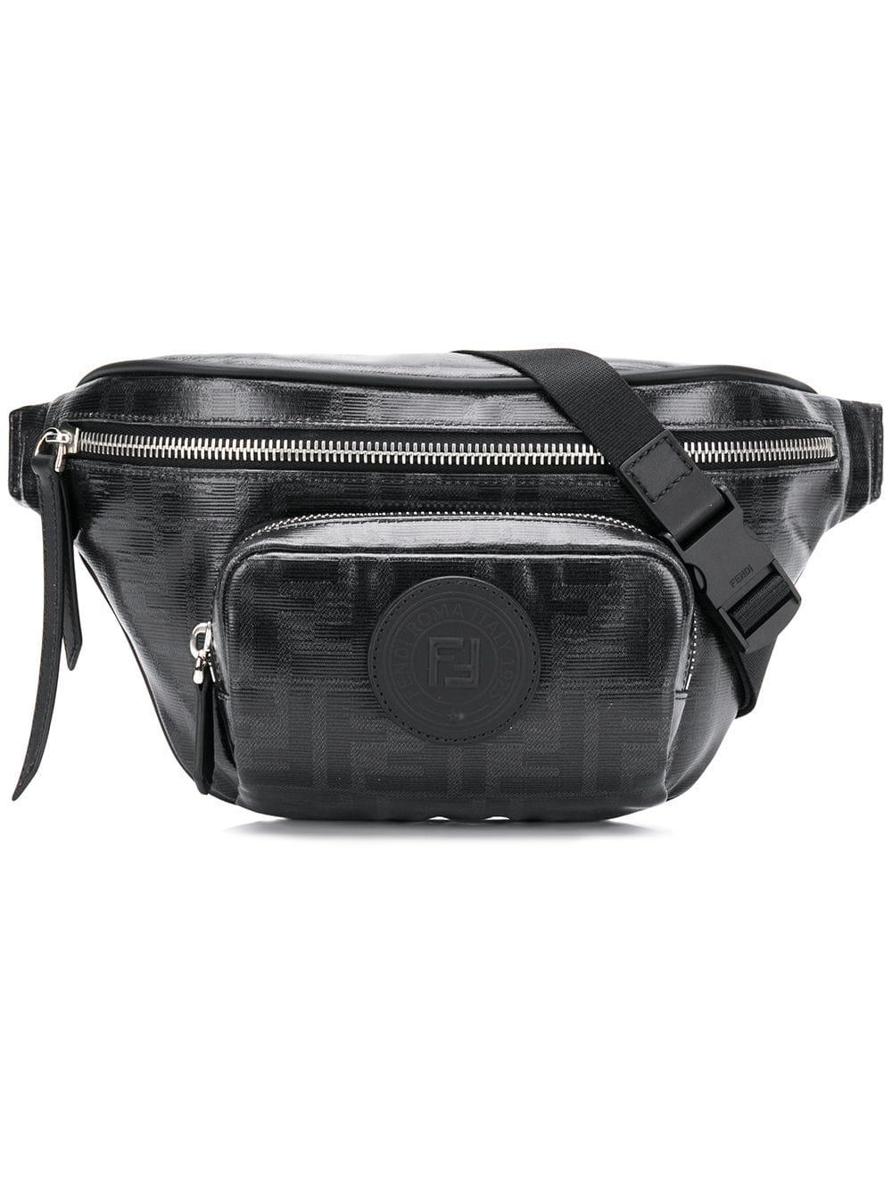 2af411c3041a Lyst - Fendi Black Ff Belt Bag in Black for Men