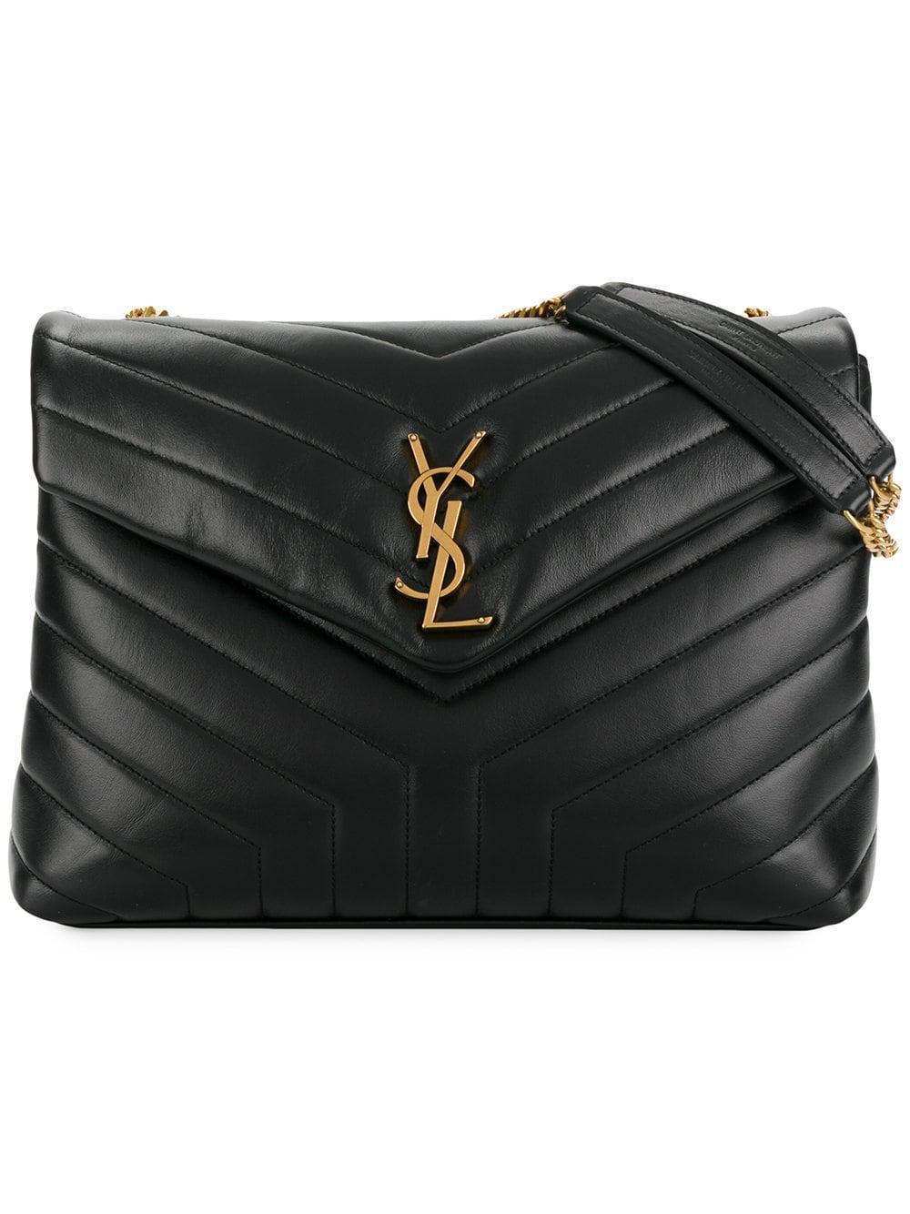 991ff8d17 Lyst - Saint Laurent Monogram Loulou Leather Shoulder Bag in Black