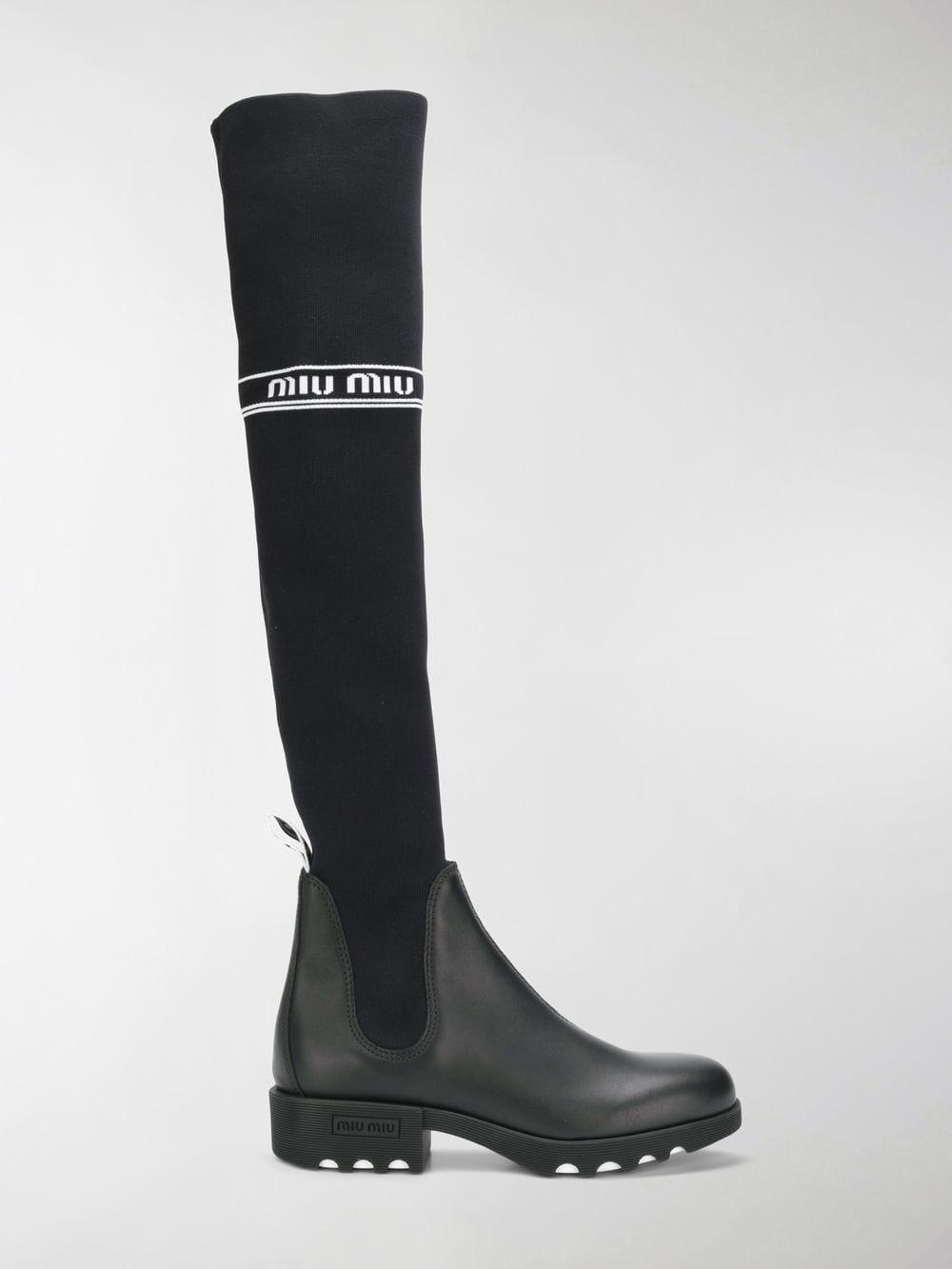 0d1364d97408 Miu Miu Leather Over-the-knee Boots in Black - Lyst