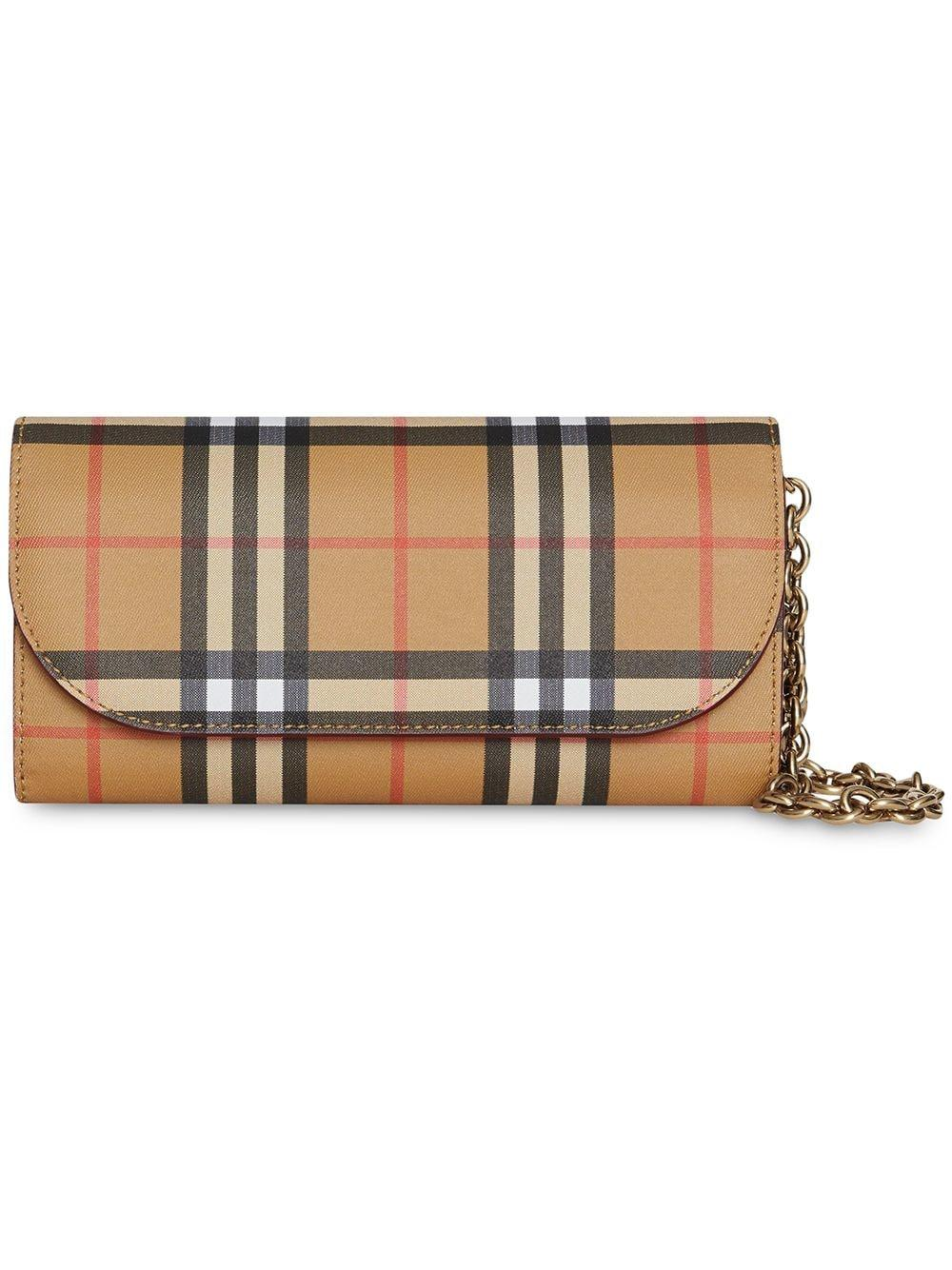 ba459c44bf67 Lyst - Burberry Henley Leather Wallet On Chain in Red - Save ...
