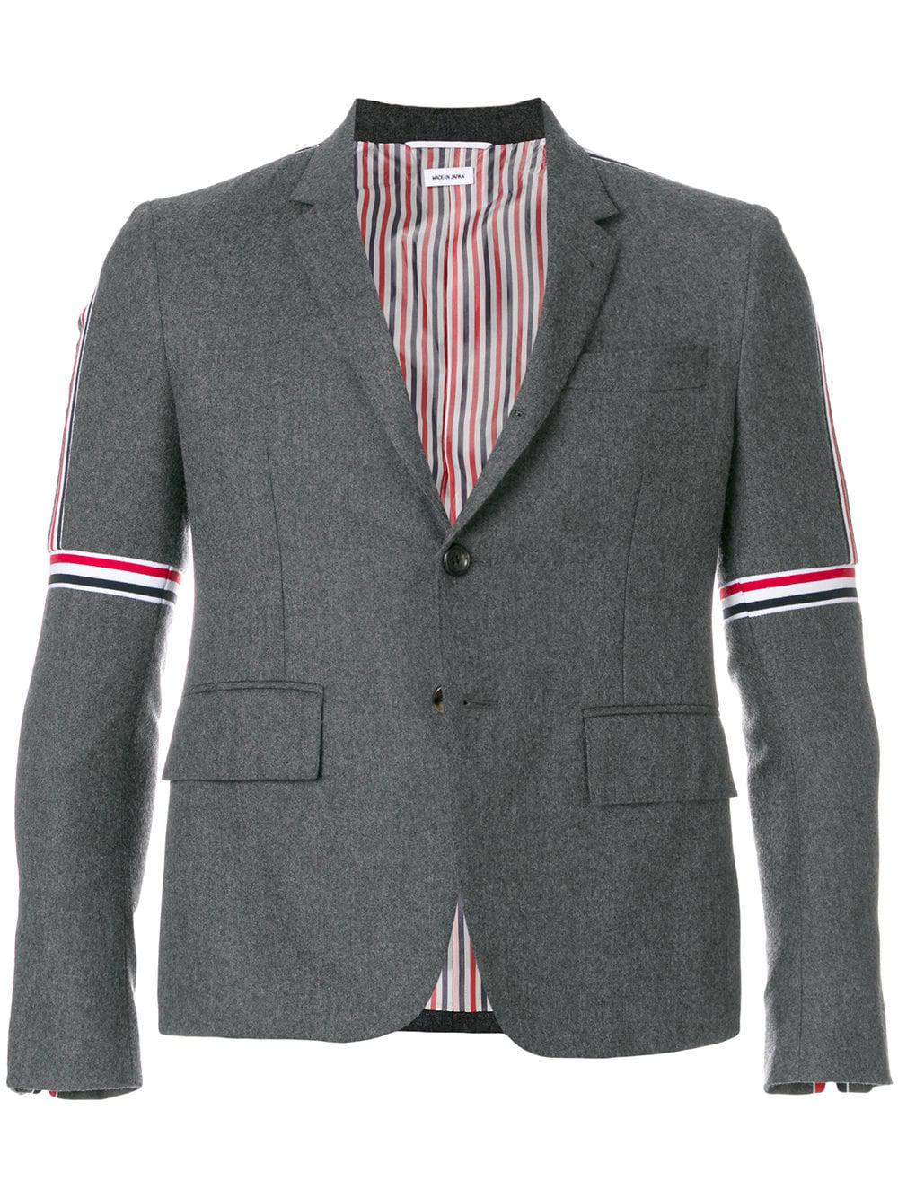 68f7347814c Thom Browne Wool Jacket With Stripes On Shoulders in Gray for Men - Lyst