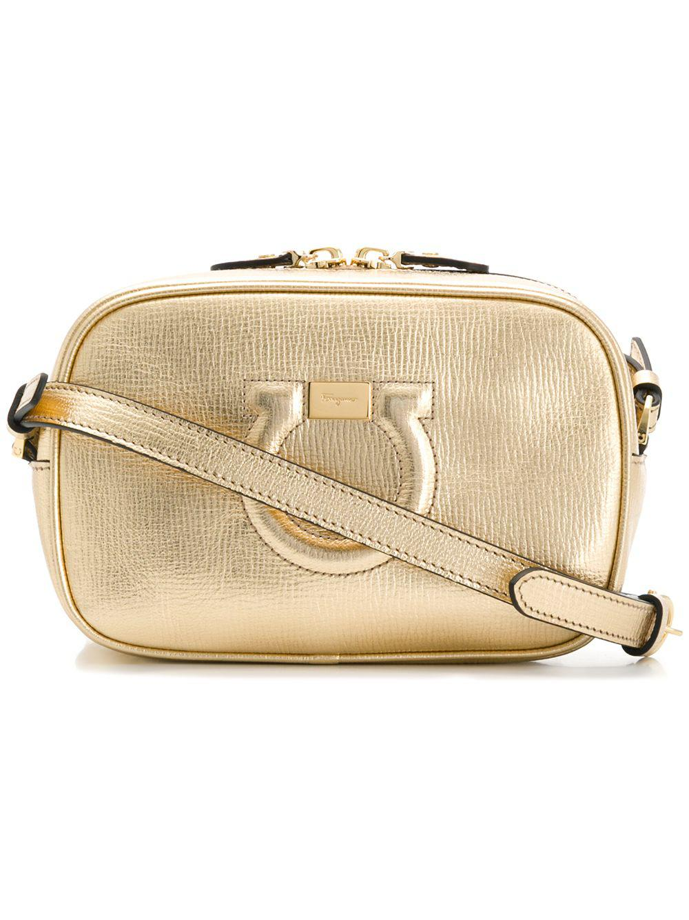 daa7b36d7 ... aeb3fef0e63 Ferragamo City Leather Shoulder Bag in Metallic - Lyst ...