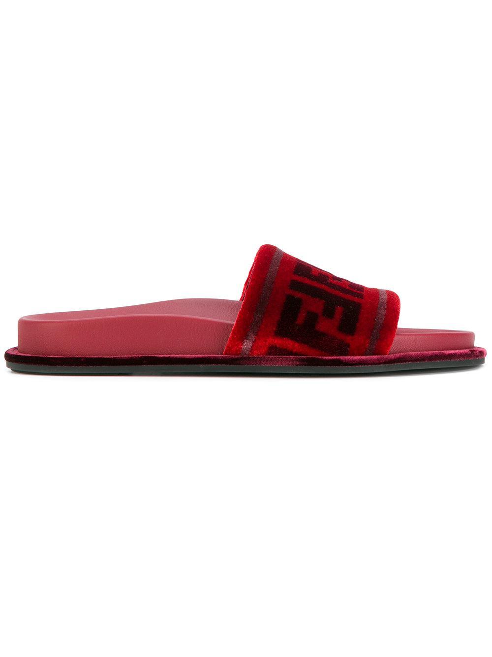 fa6e2535bedb Fendi Ff Open-toe Sandals in Red - Lyst