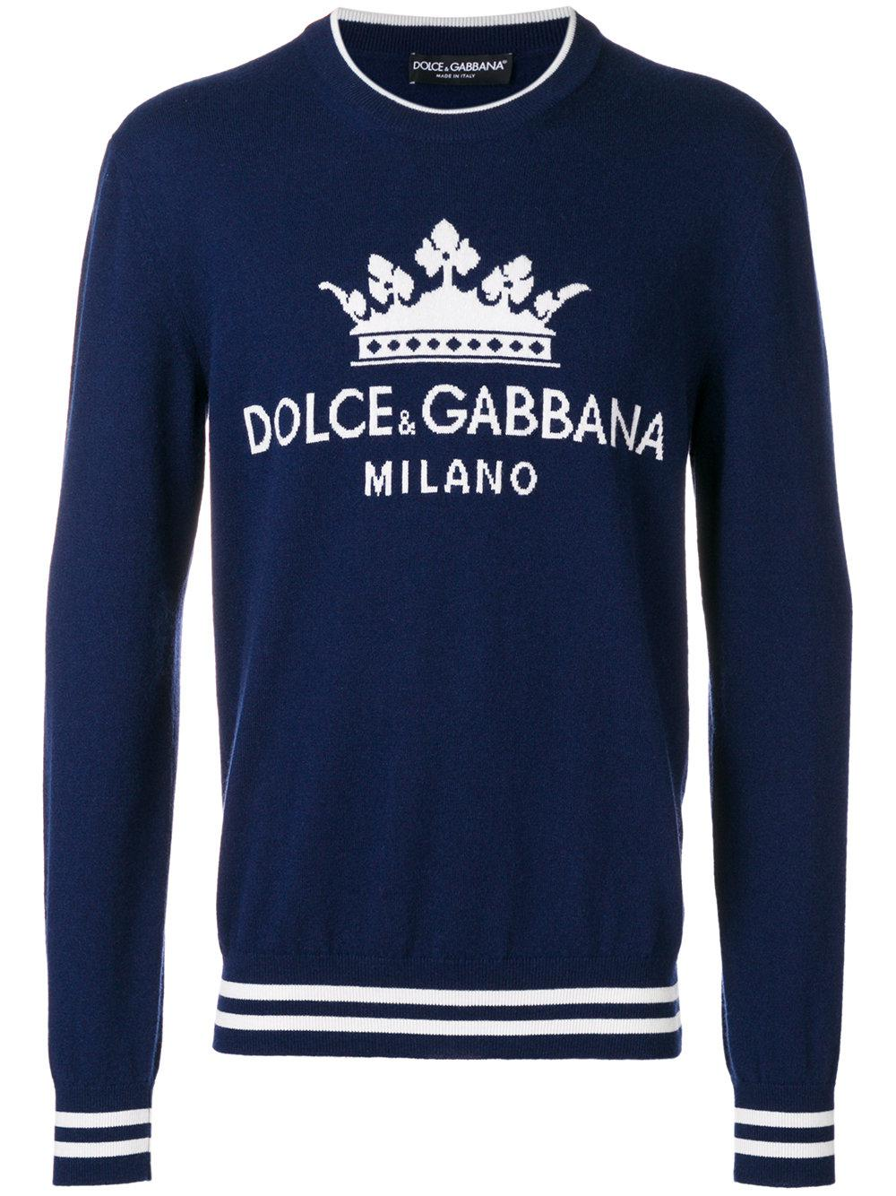 6eb35f3d Dolce & Gabbana Crew Neck Sweater With Logo Print in Blue for Men ...