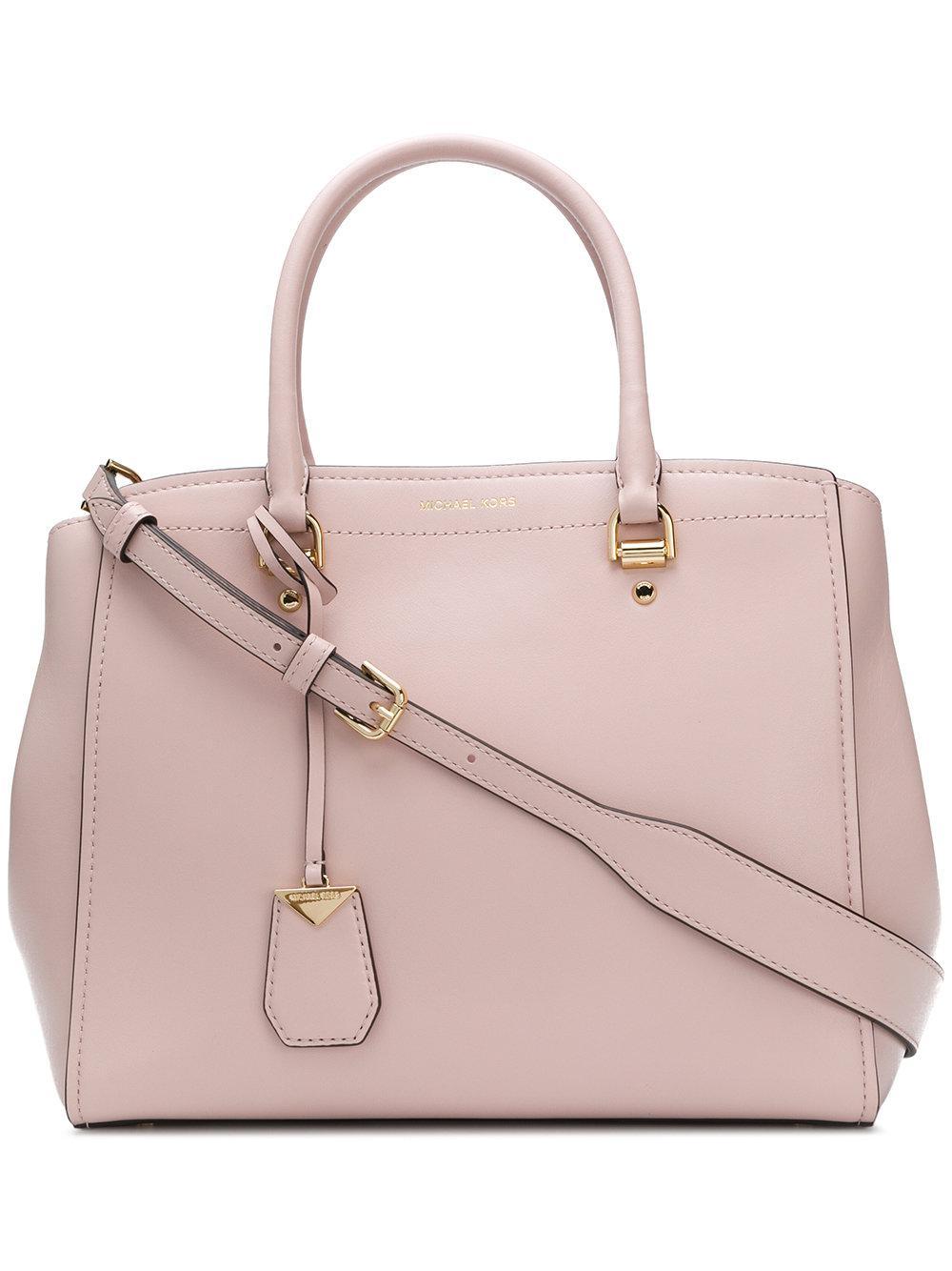 cc8b74c5e1f7 MICHAEL Michael Kors Benning Leather Shoulder Bag in Pink - Lyst