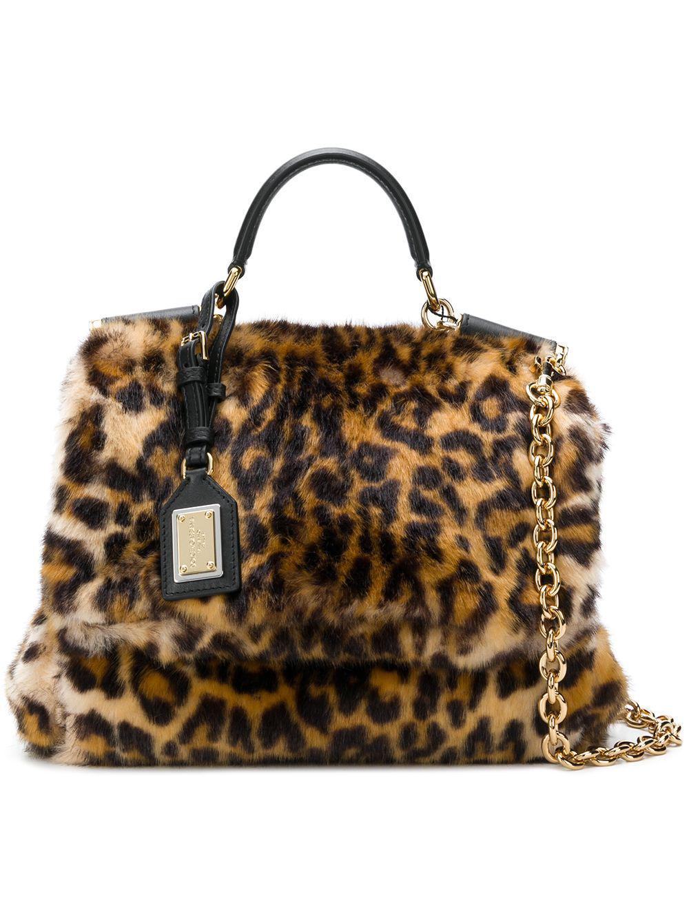 Lyst - Dolce   Gabbana Miss Sicily Leopard Print Fur Handbag in Natural f6e301dd7cc63