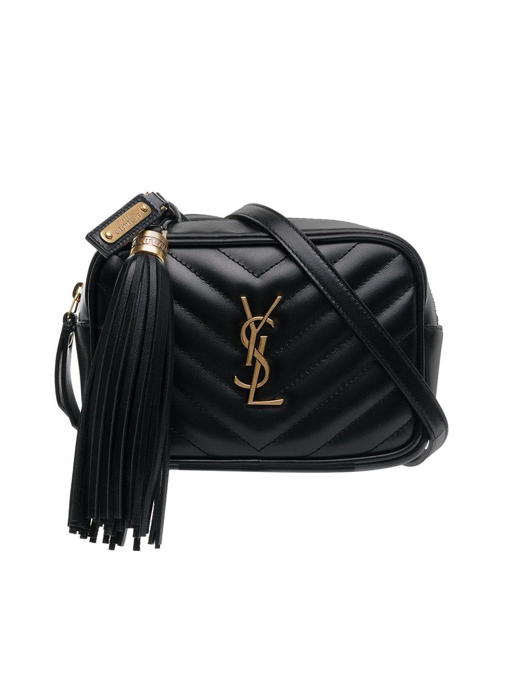 Lyst - Saint Laurent Monogram Lou Leather Belt Bag in Black 1c3c289f9cde1