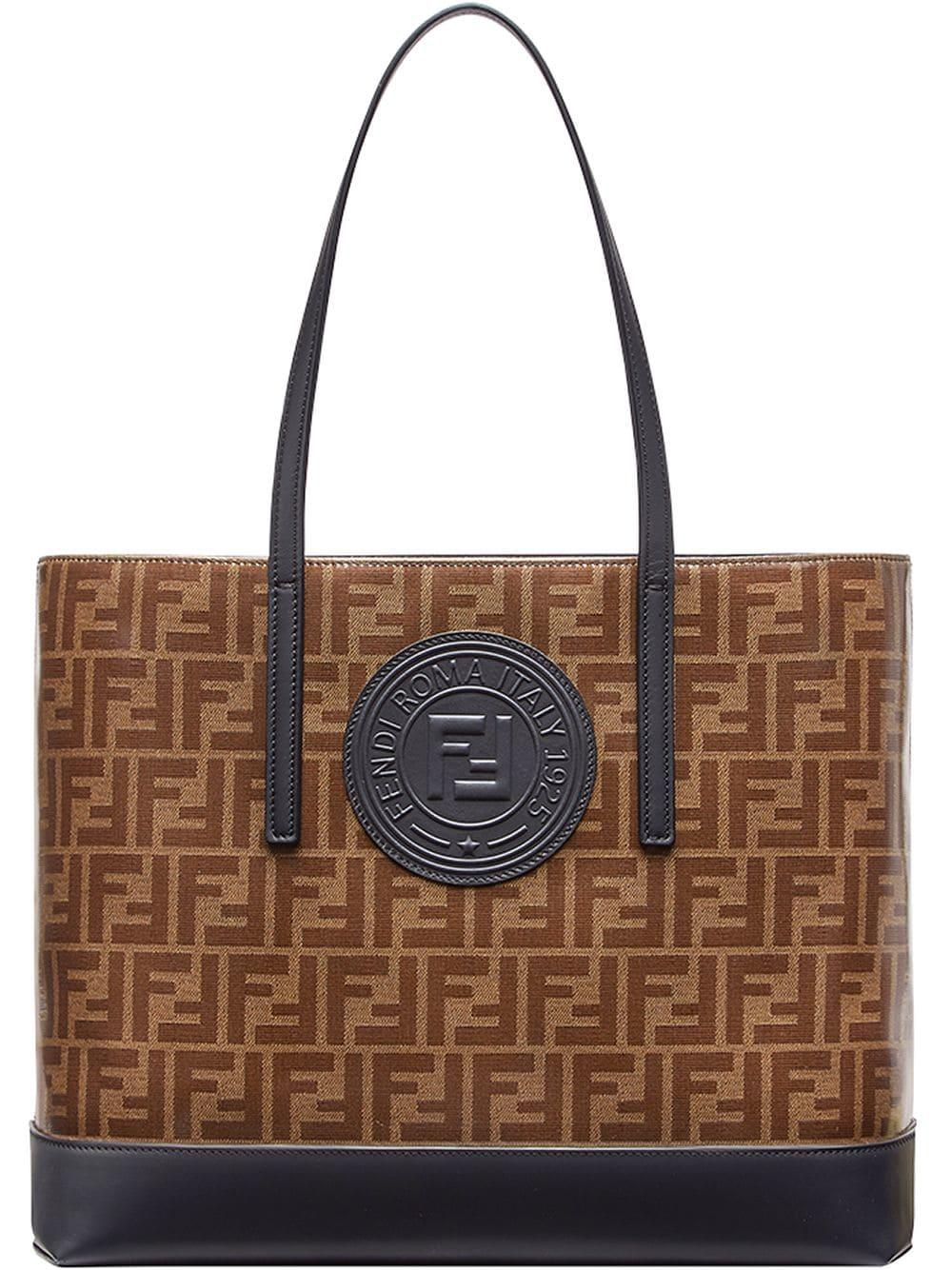 94241b441a Lyst - Fendi Brown And Black Forever Shopper Tote in Brown - Save 23%