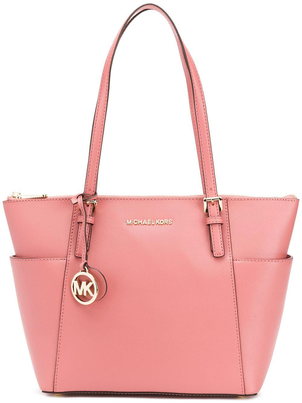af6798d41929 Lyst - MICHAEL Michael Kors Jet Set Item Leather Tote Bag in Pink ...