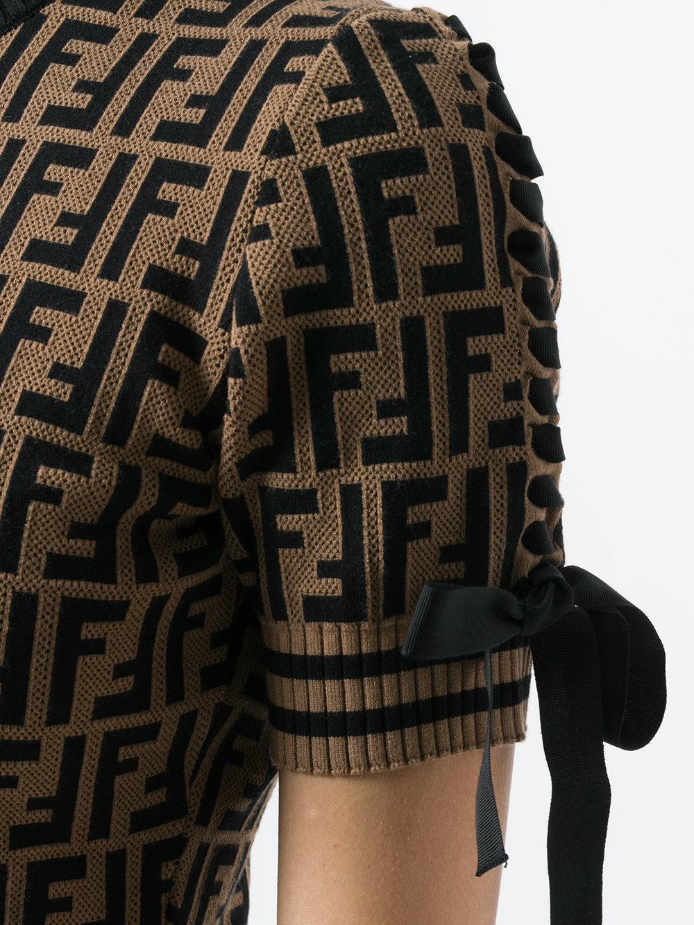 Lyst - Fendi Logo Short-sleeve Sweater in Brown