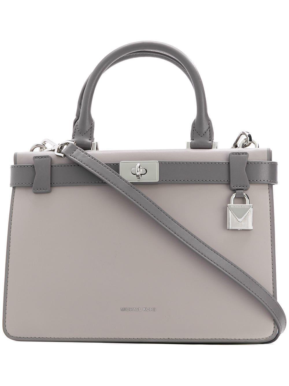 49cc12bfec9657 MICHAEL Michael Kors Tatiana Small Leather Shoulder Bag in Gray - Lyst