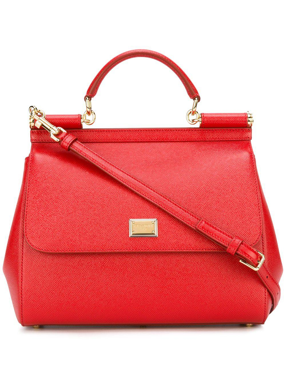 Lyst - Dolce   Gabbana Sicily Dauphine Leather Bag in Red ccc597c5af604