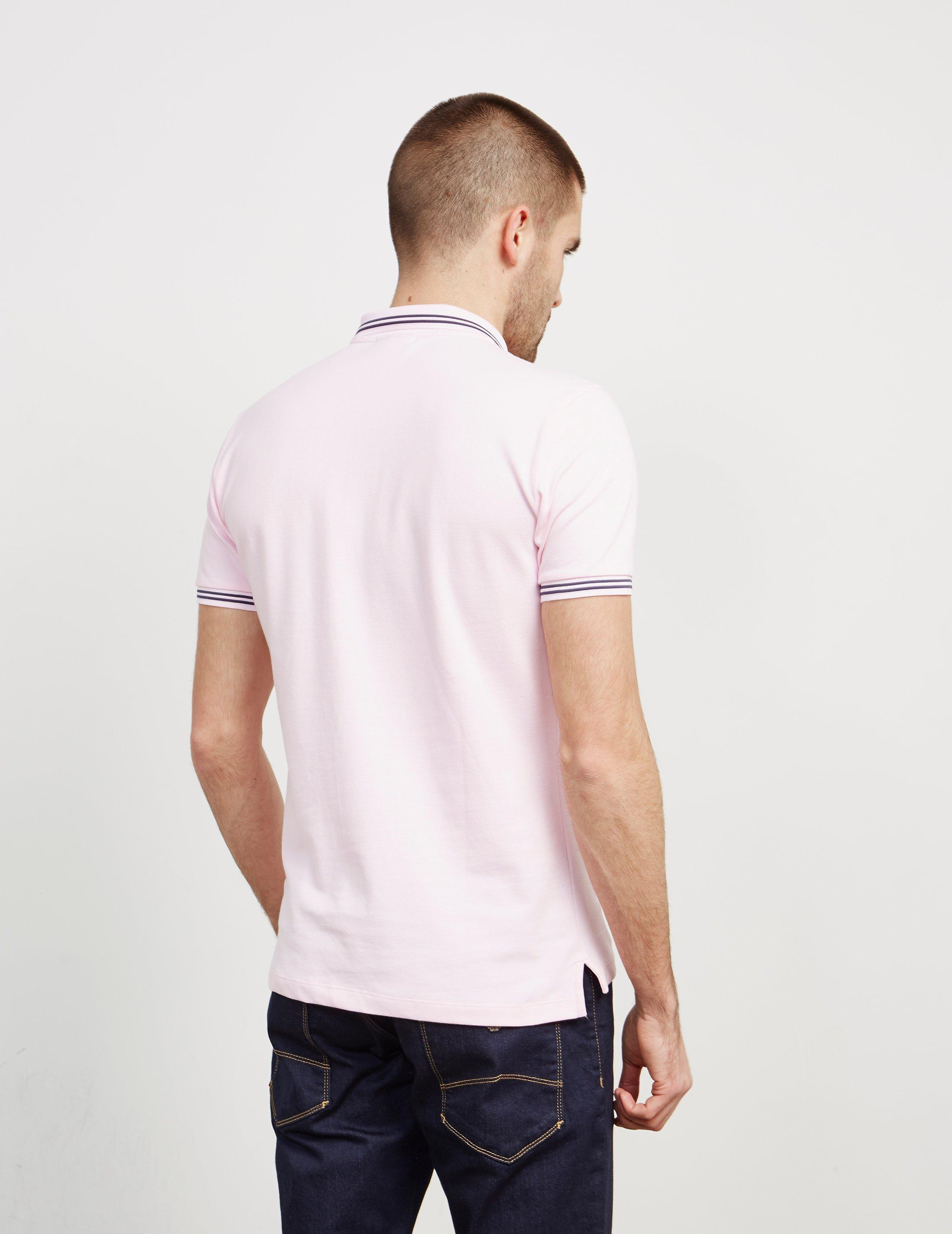 tipped polo shirt pink cargo shorts