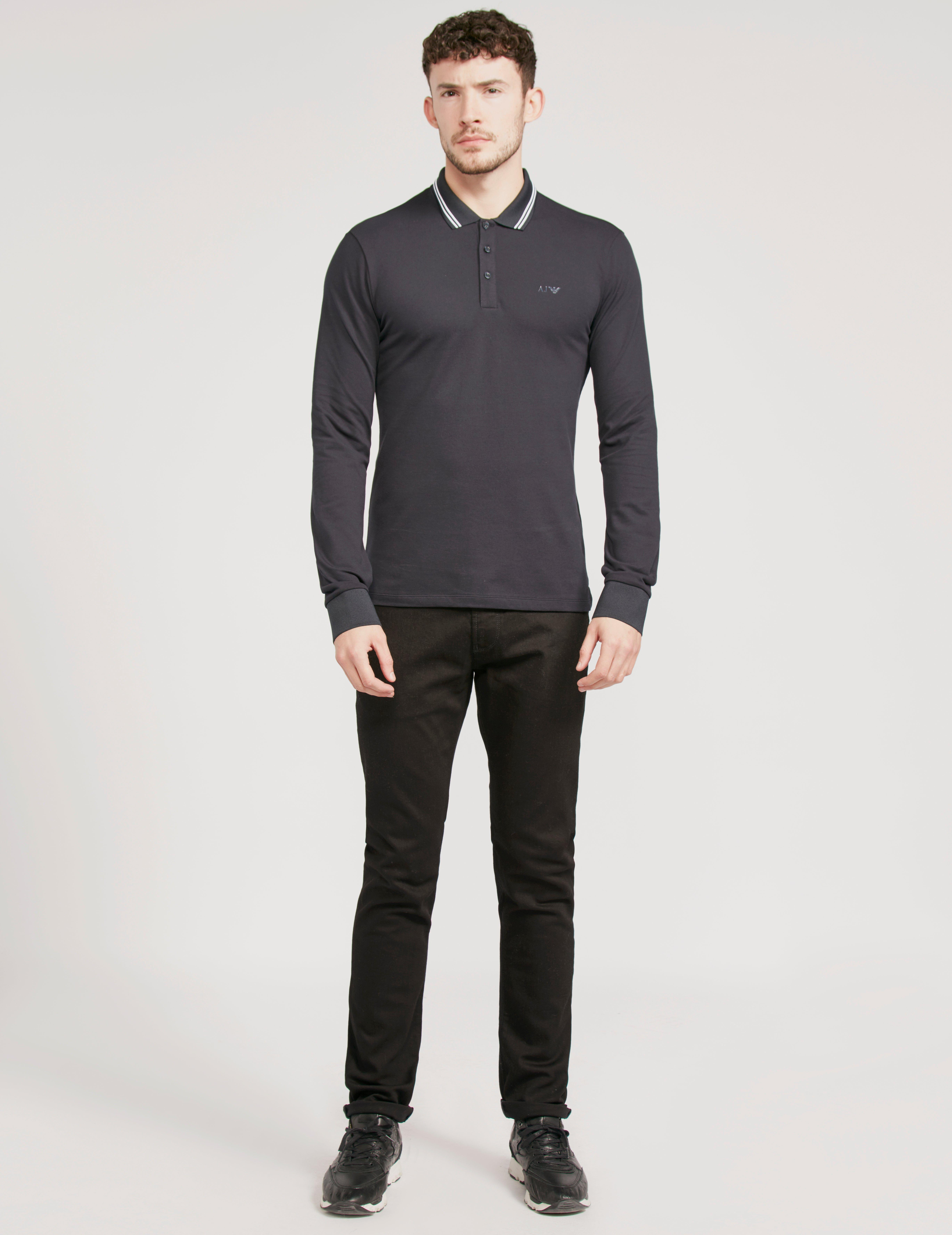 f4e49211 Armani Jeans Modern Fit Long Sleeve Polo Shirt Navy Blue in Blue for ...