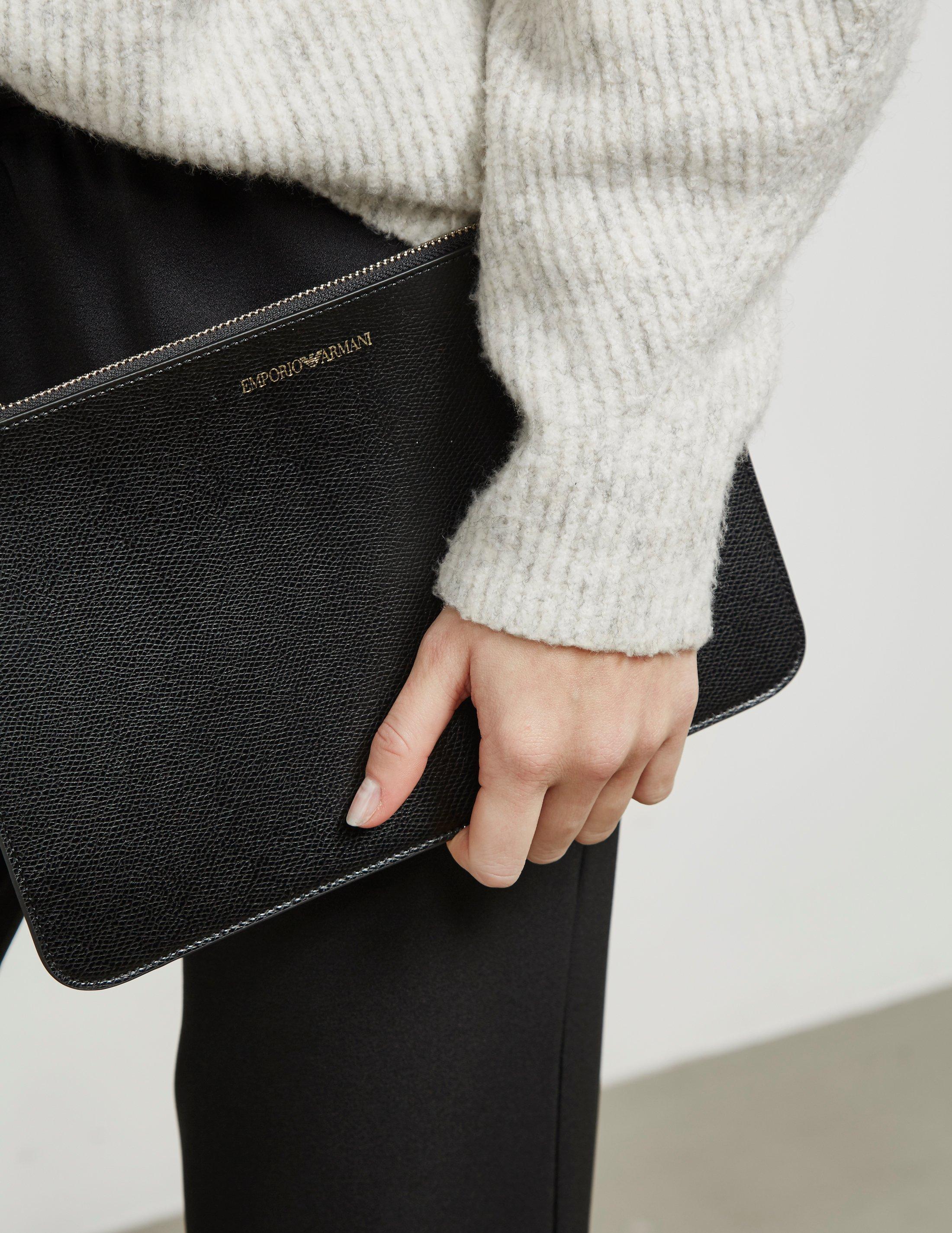 5ca88a1f0f Lyst - Emporio Armani Womens Busta Clutch Bag Black in Black