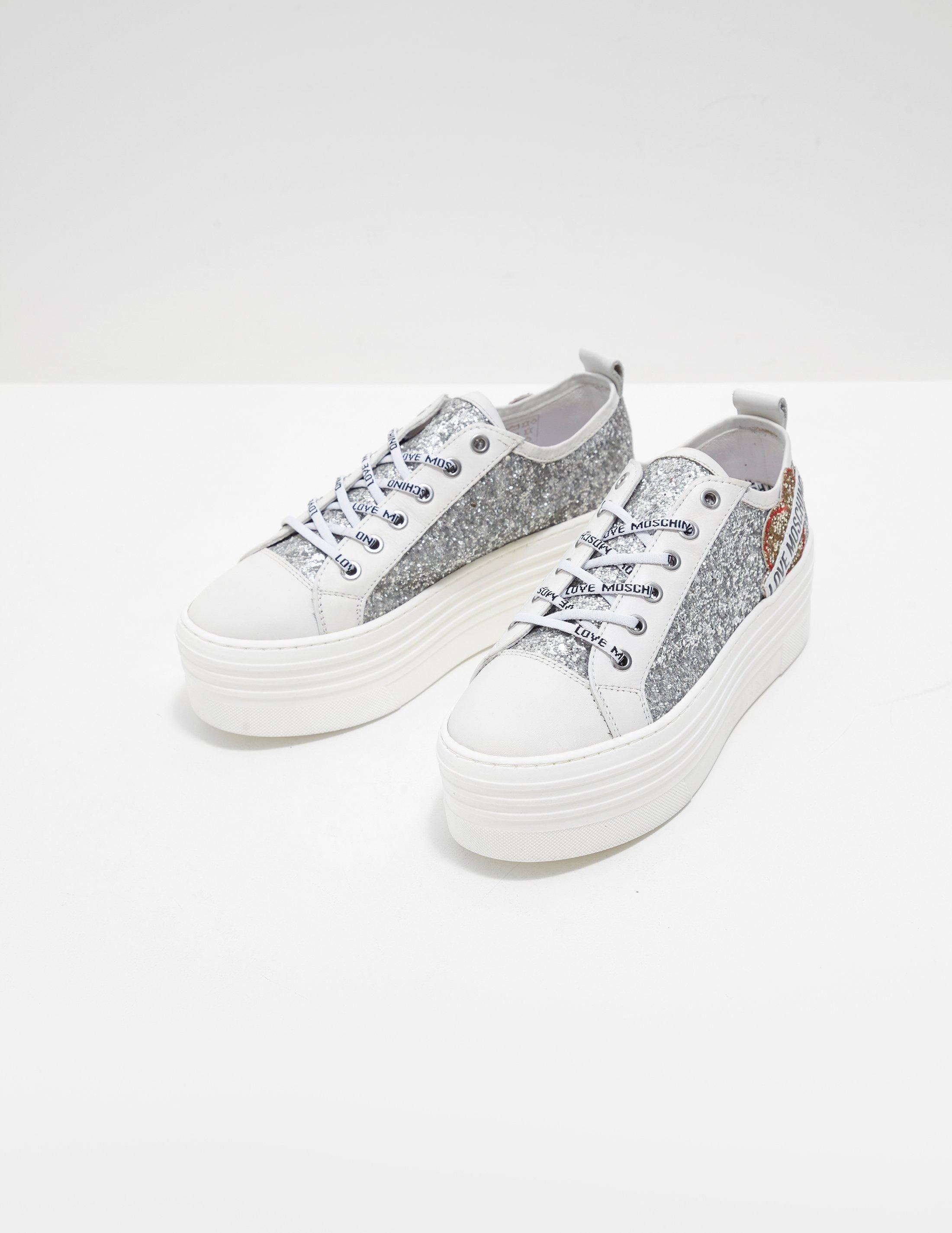 2b1c3001d7b1 Lyst - Love Moschino Womens Glitter Platform Trainers Silver in Metallic