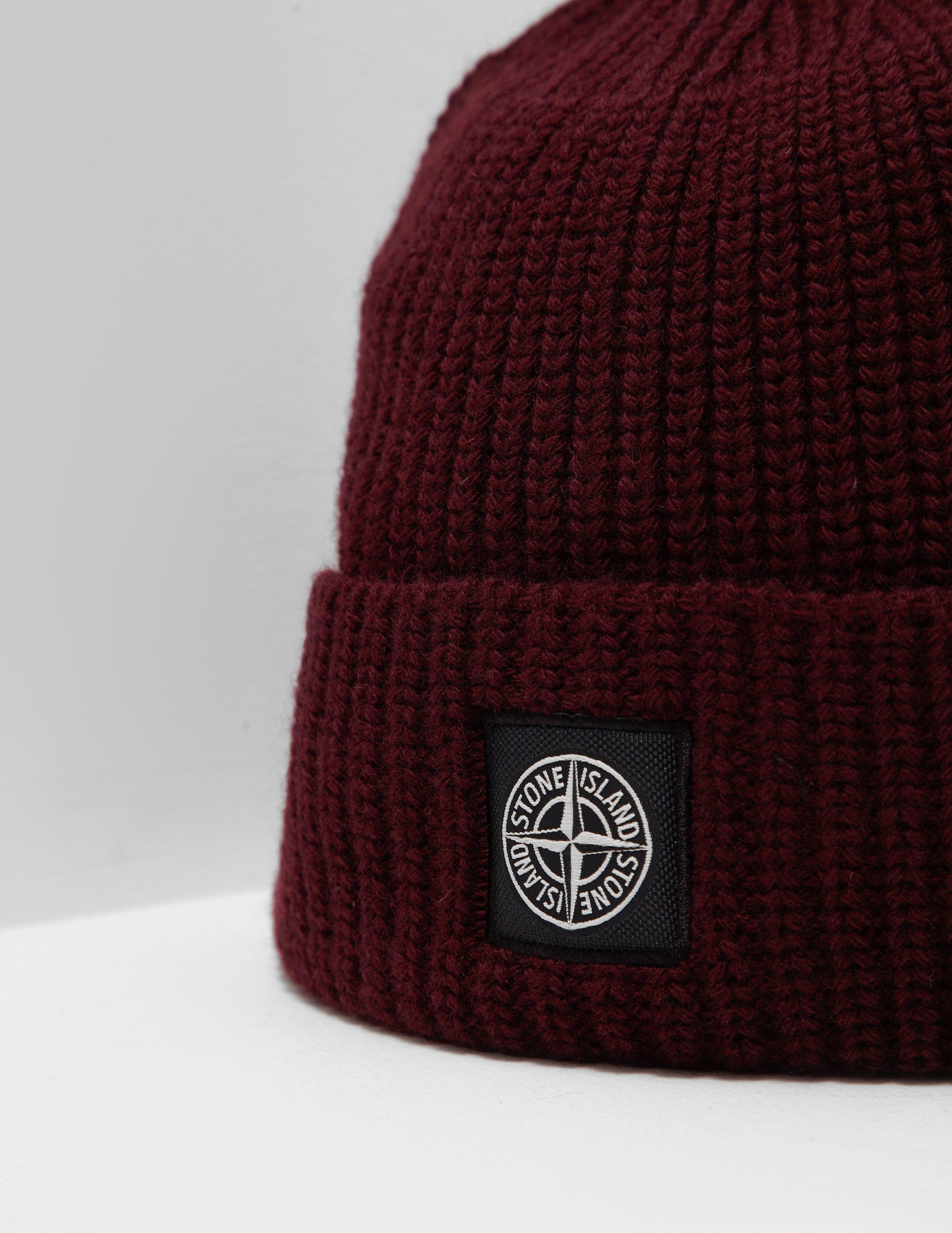29bd96b619e ... Stone Island Mens Patch Beanie Red in Red for Men - Lyst recognized  brands 004a1 8ba3a ...