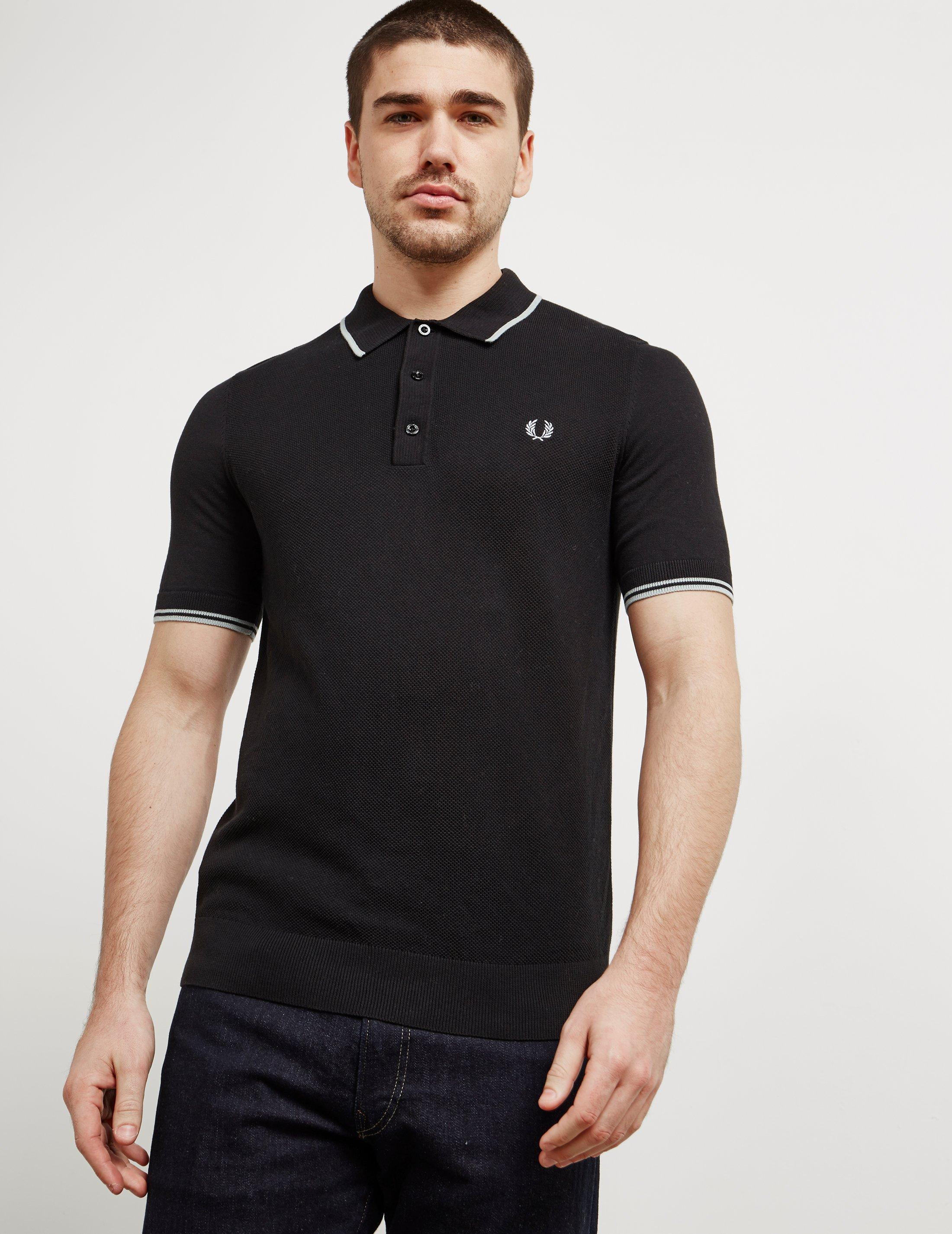 Lyst fred perry mens short sleeve knitted polo shirt for Fred perry mens shirts sale