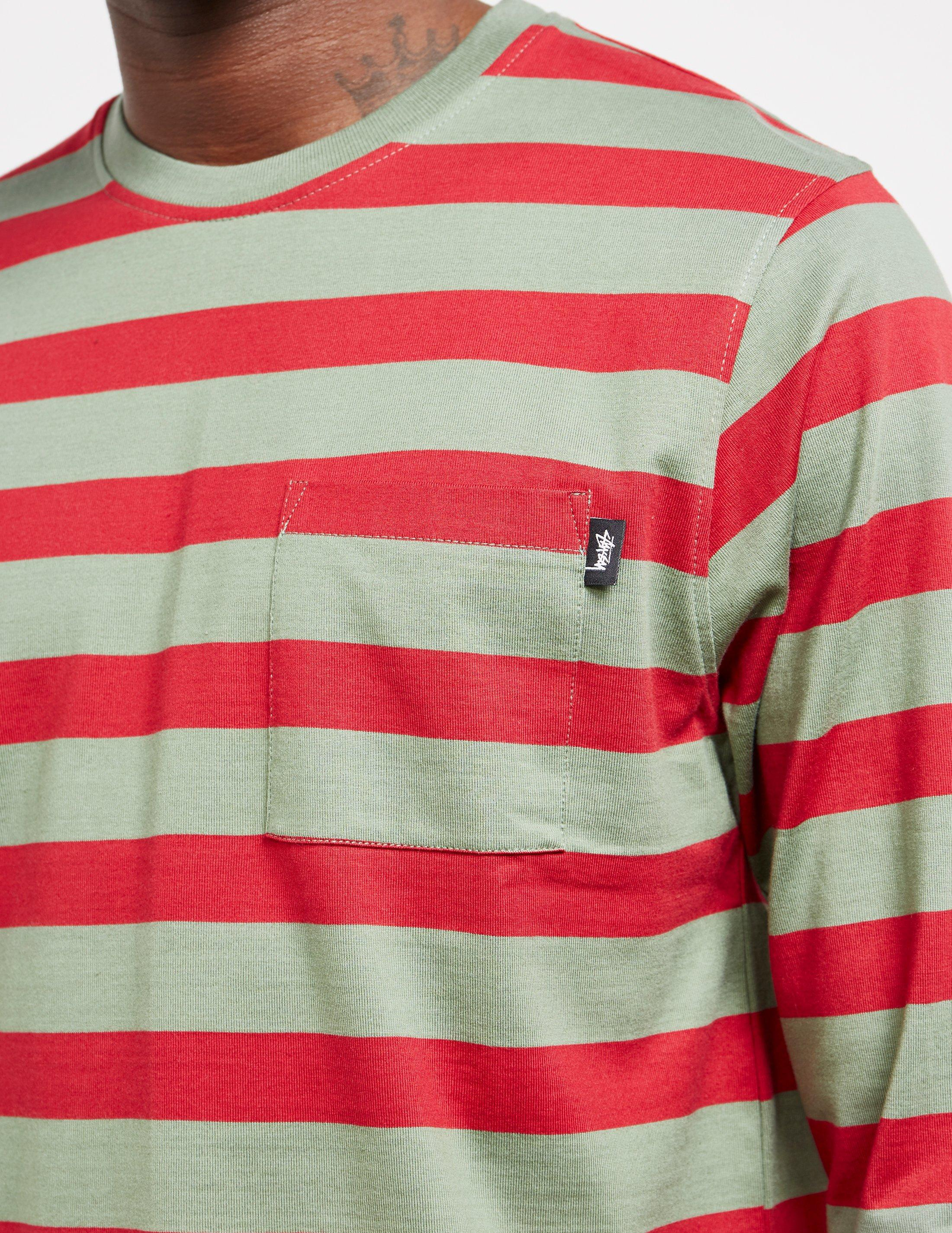 3ded03fea8 Stussy - Mens Malcom Stripe Long Sleeve T-shirt Green for Men - Lyst. View  fullscreen