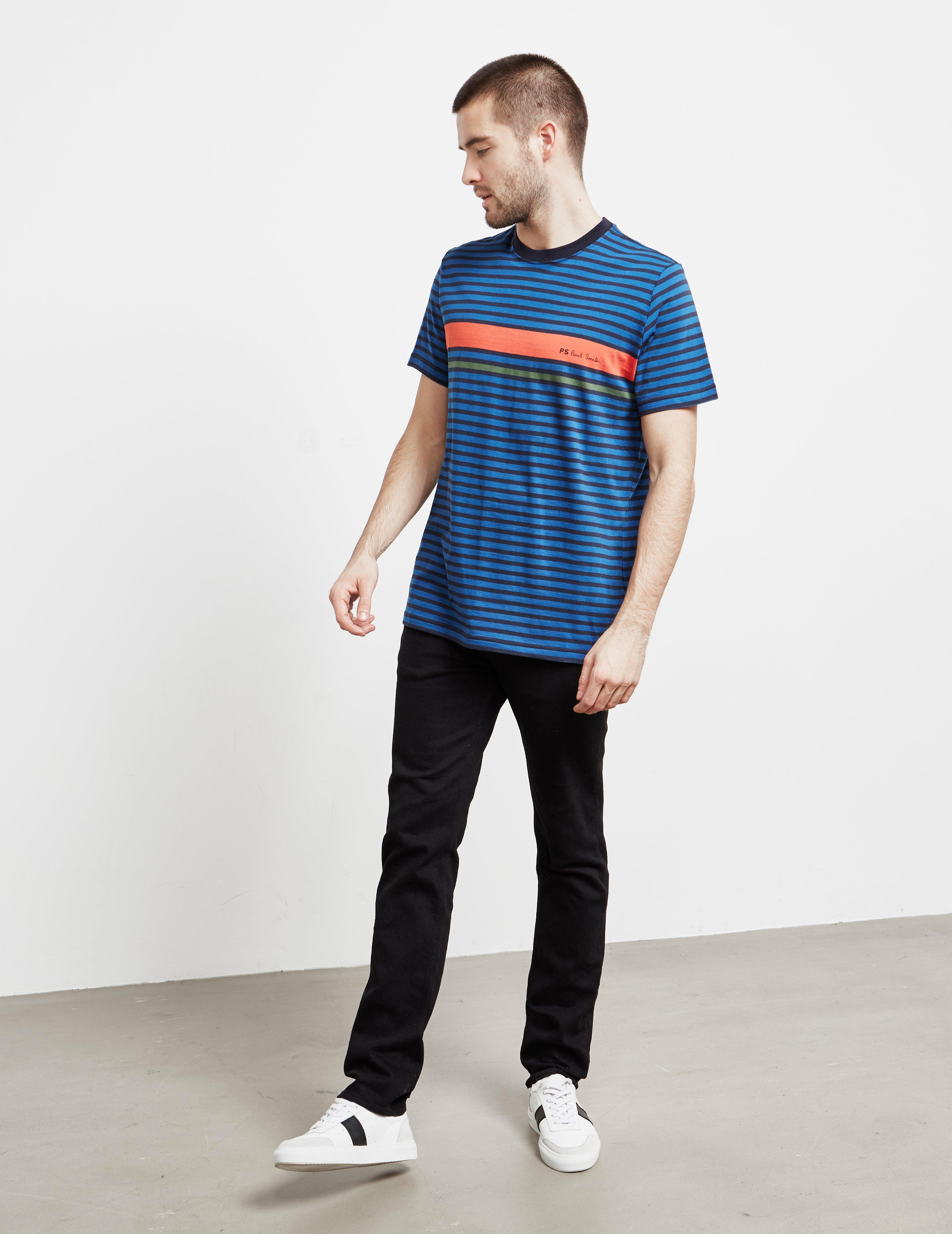 415fe50ccd Lyst - Ps By Paul Smith Mens Stripe Logo Short Sleeve T-shirt Navy Blue in  Blue for Men
