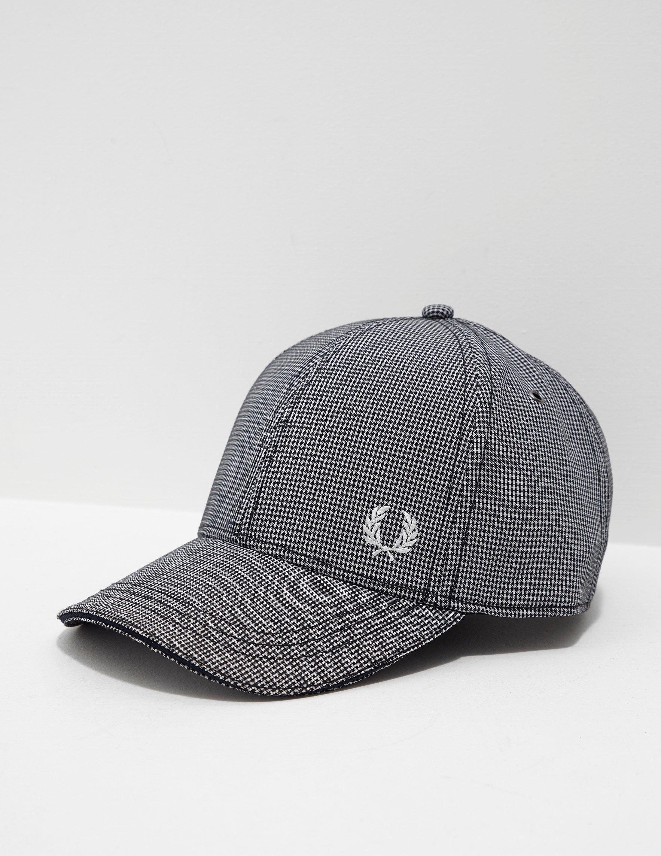 1deb59fde09 Lyst - Fred Perry Mens Gingham Cap Navy Blue in Blue for Men