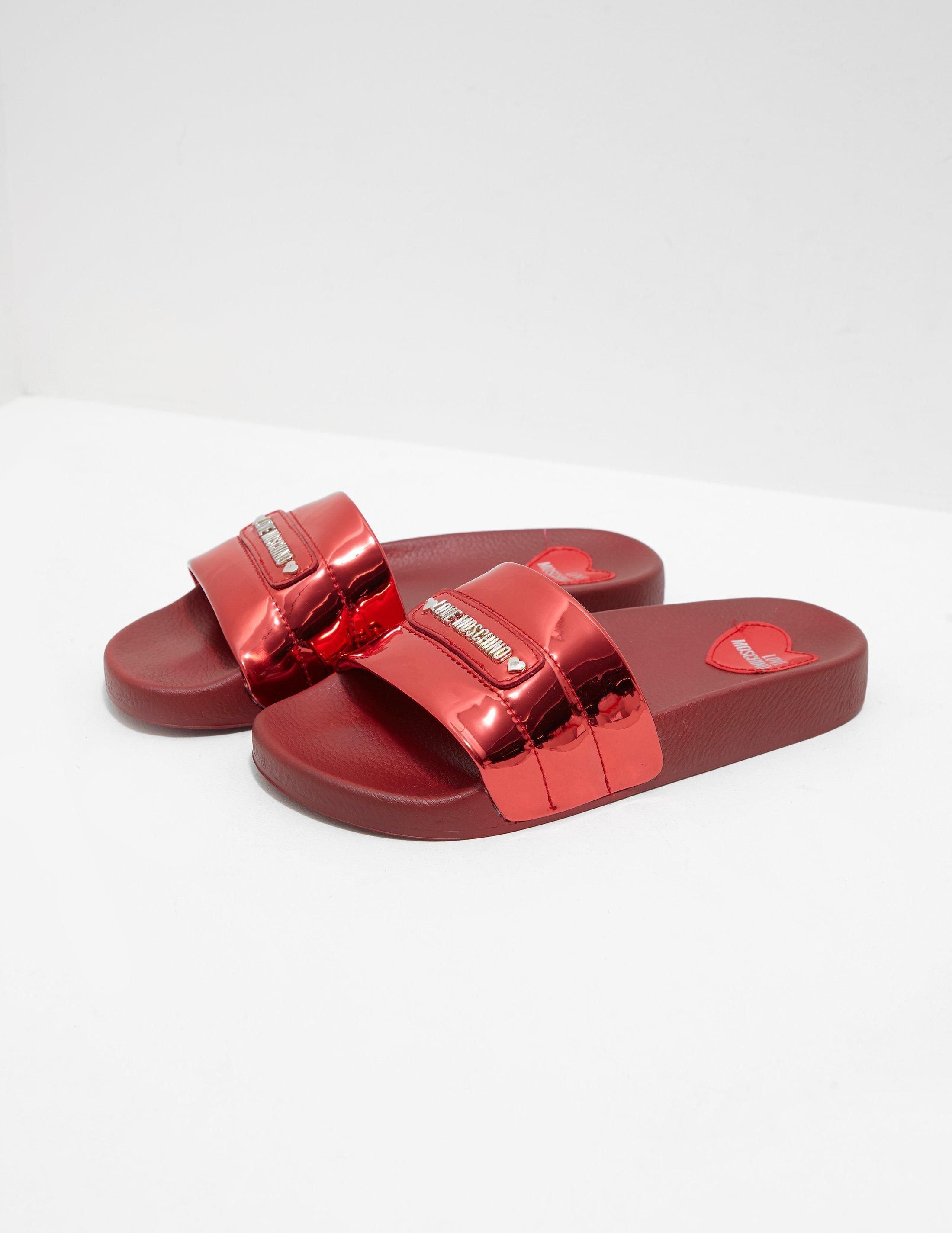 3d8675b821d4 Lyst - Love Moschino  s Sabotd.pool25 Specchio Pu Flip Flops in Red