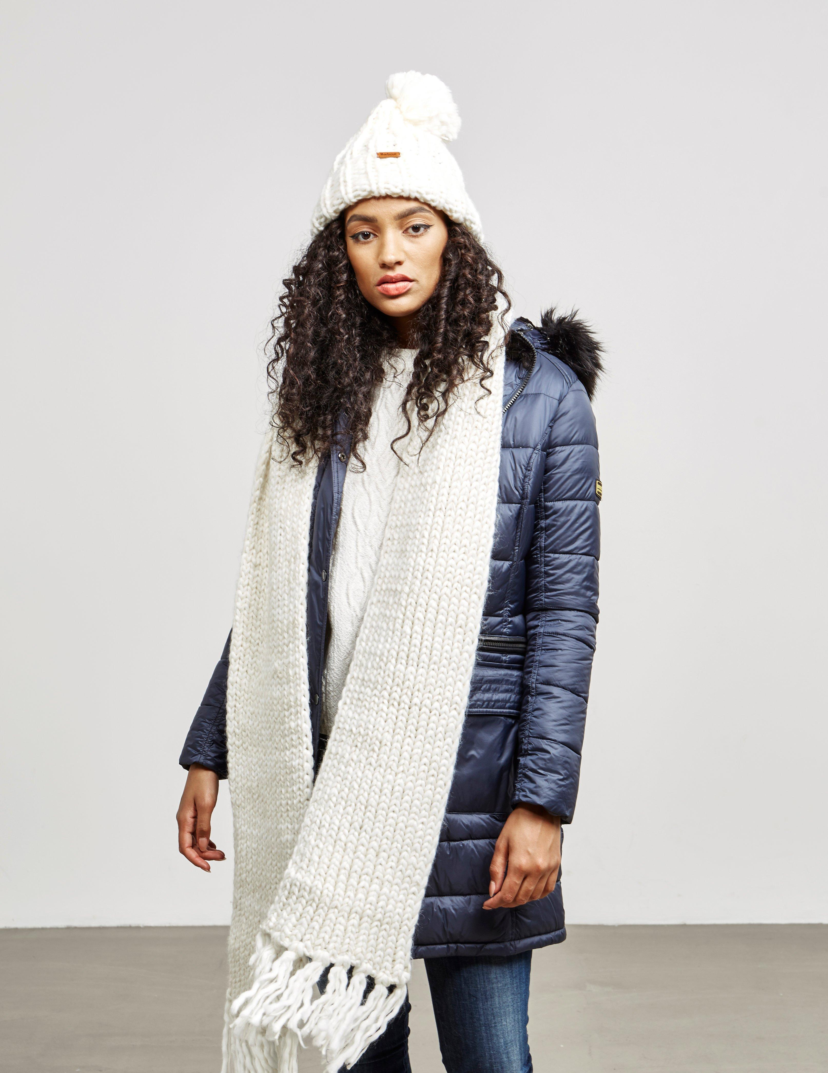 Lyst - Barbour Womens Chunky Hat And Scarf Set White in White 85d5e0aaa67