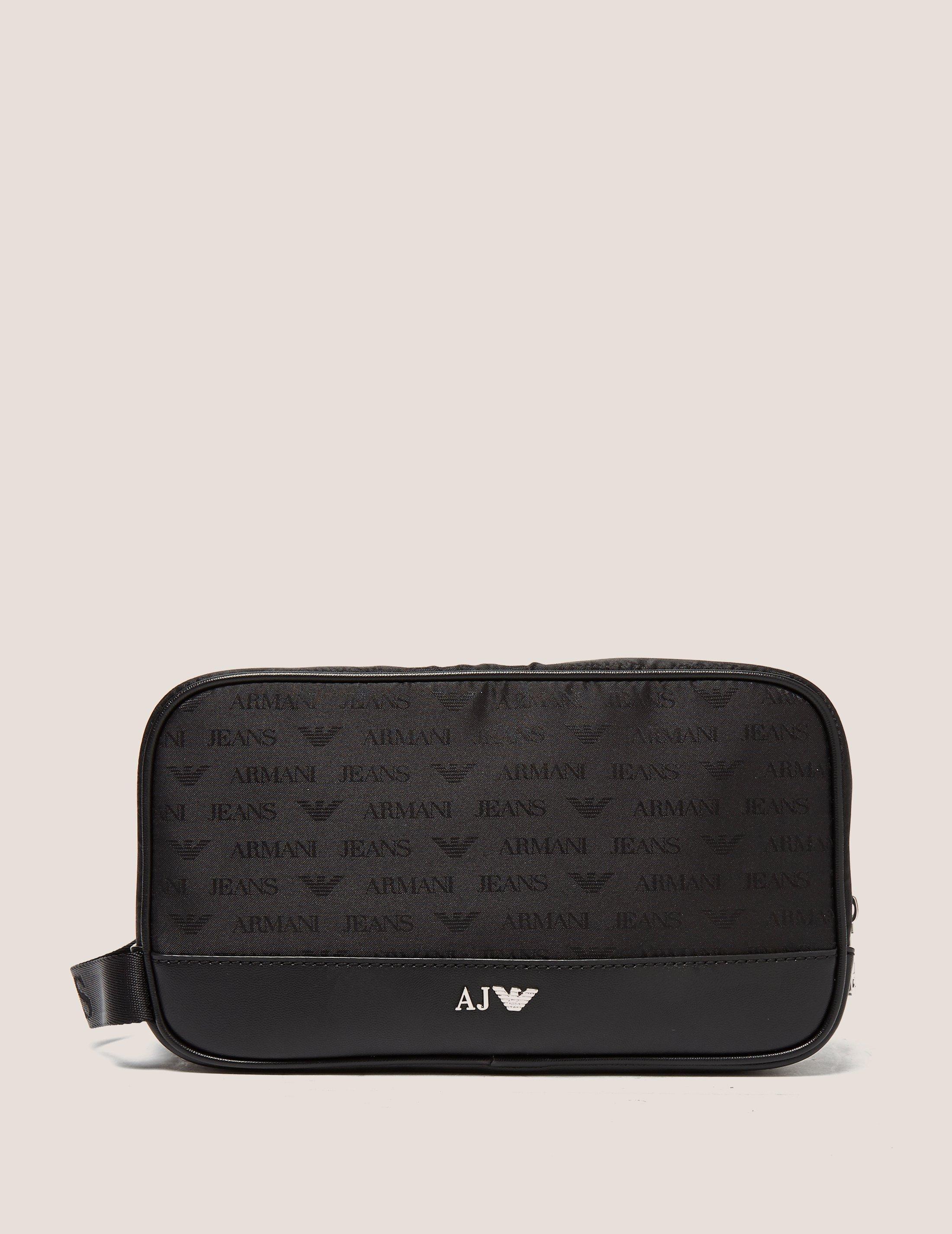 cf72066b75d Lyst - Armani Jeans Logo Washbag in Black for Men