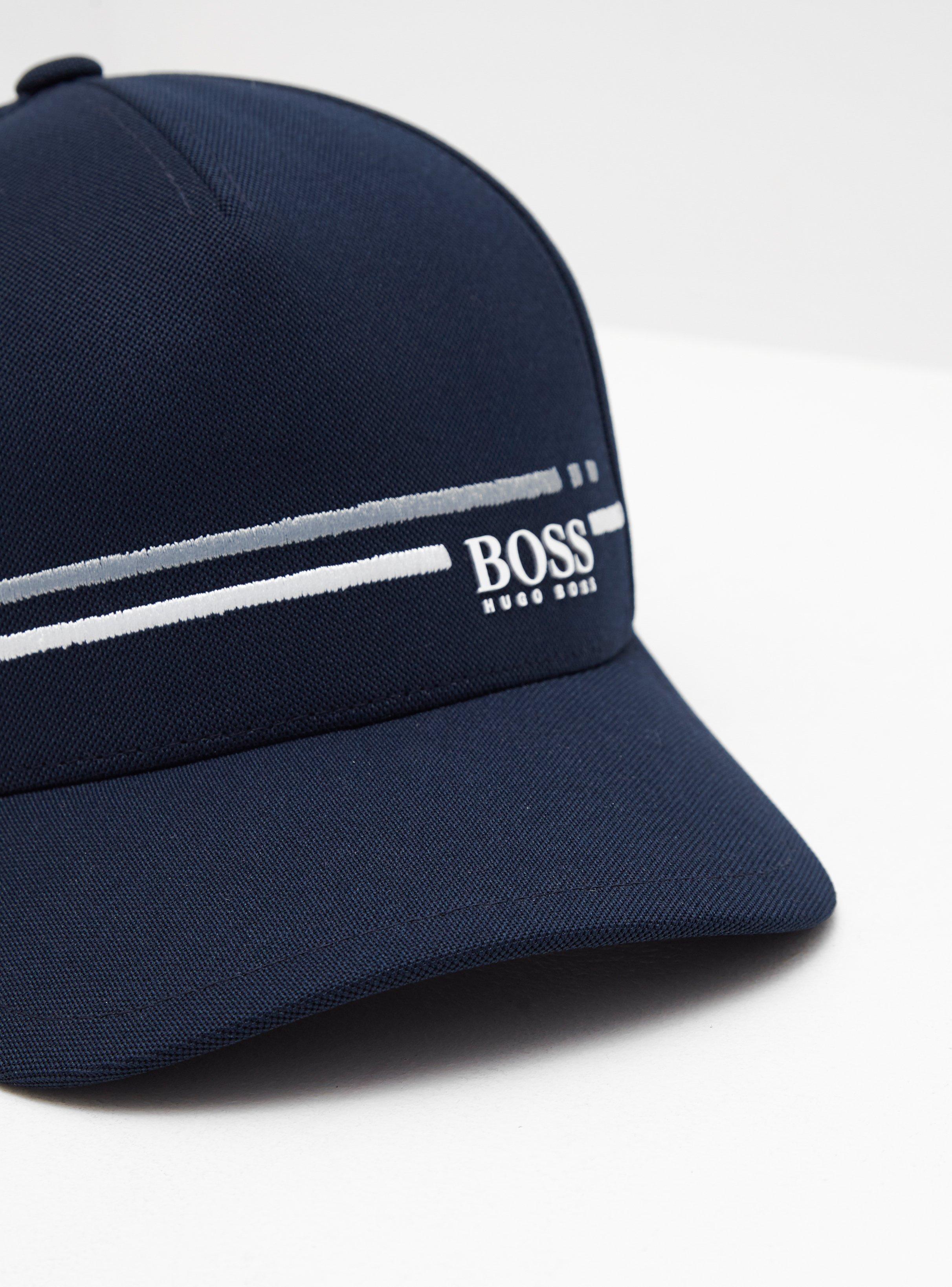 584ce264800 BOSS - Mens Stripe Cap Navy Blue for Men - Lyst. View fullscreen