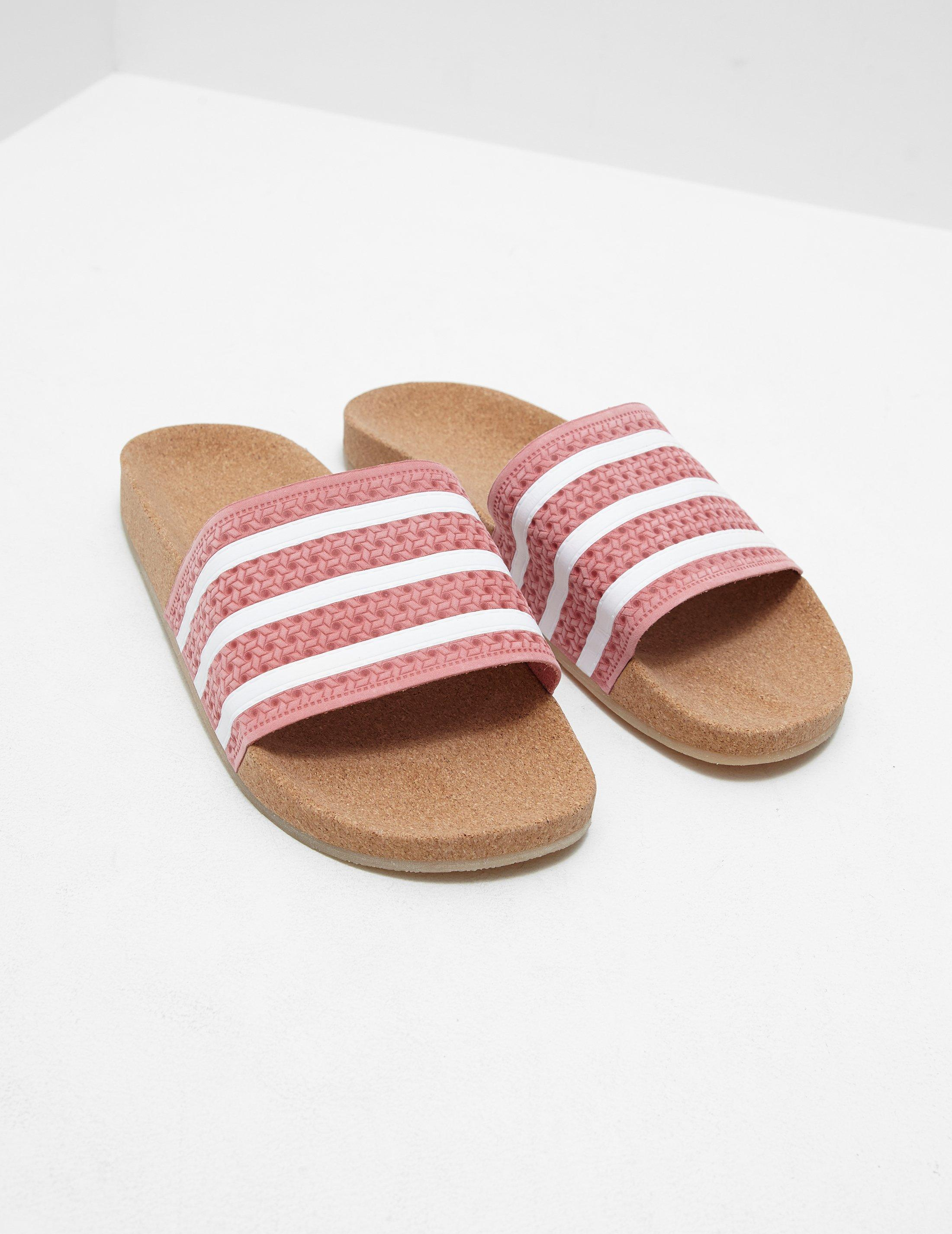 1912495c4e9e6 adidas Originals Womens Adilette Cork Slides Pink in Pink - Lyst