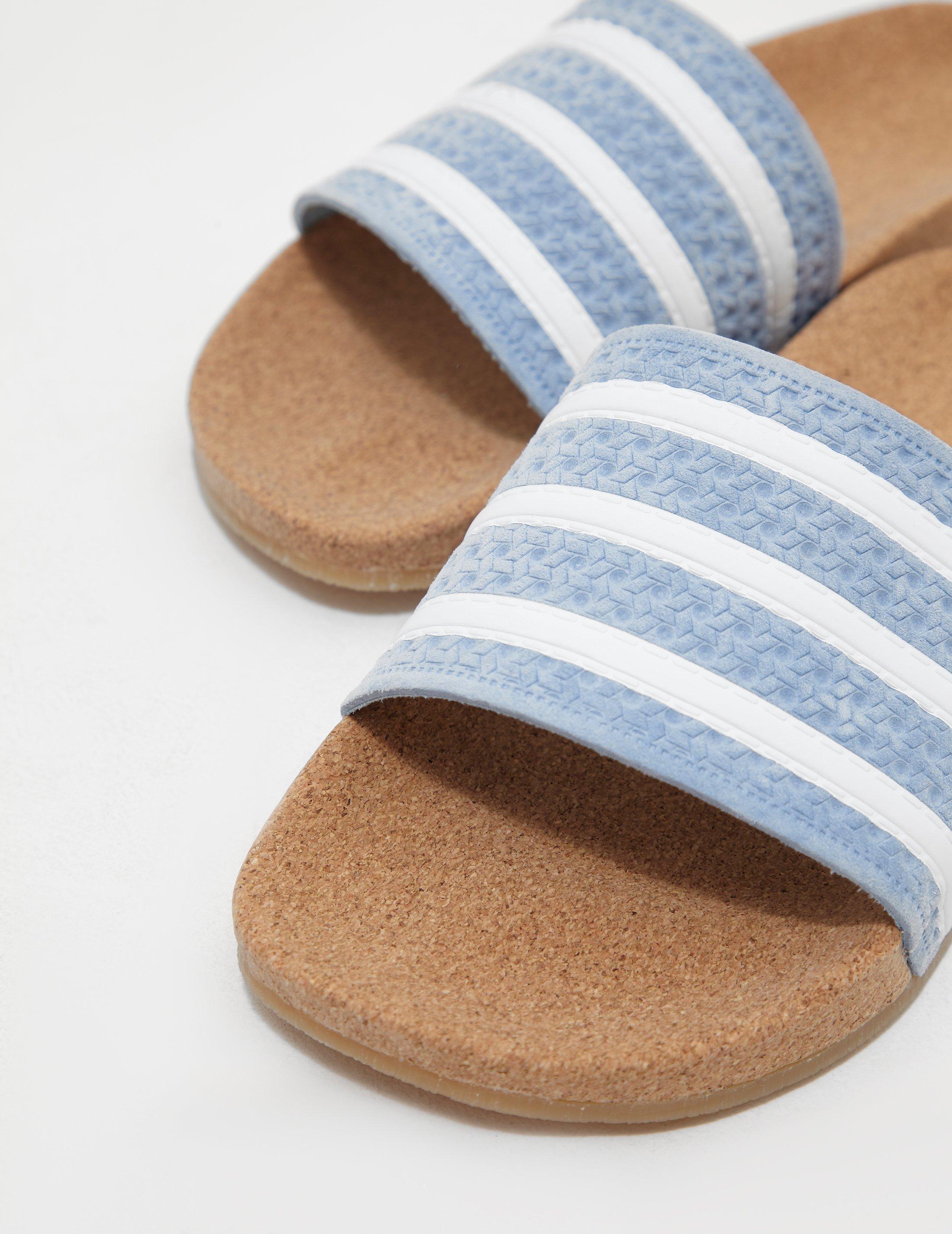 44f727f2563ca Lyst - adidas Originals Womens Adilette Cork Slides Blue in Blue